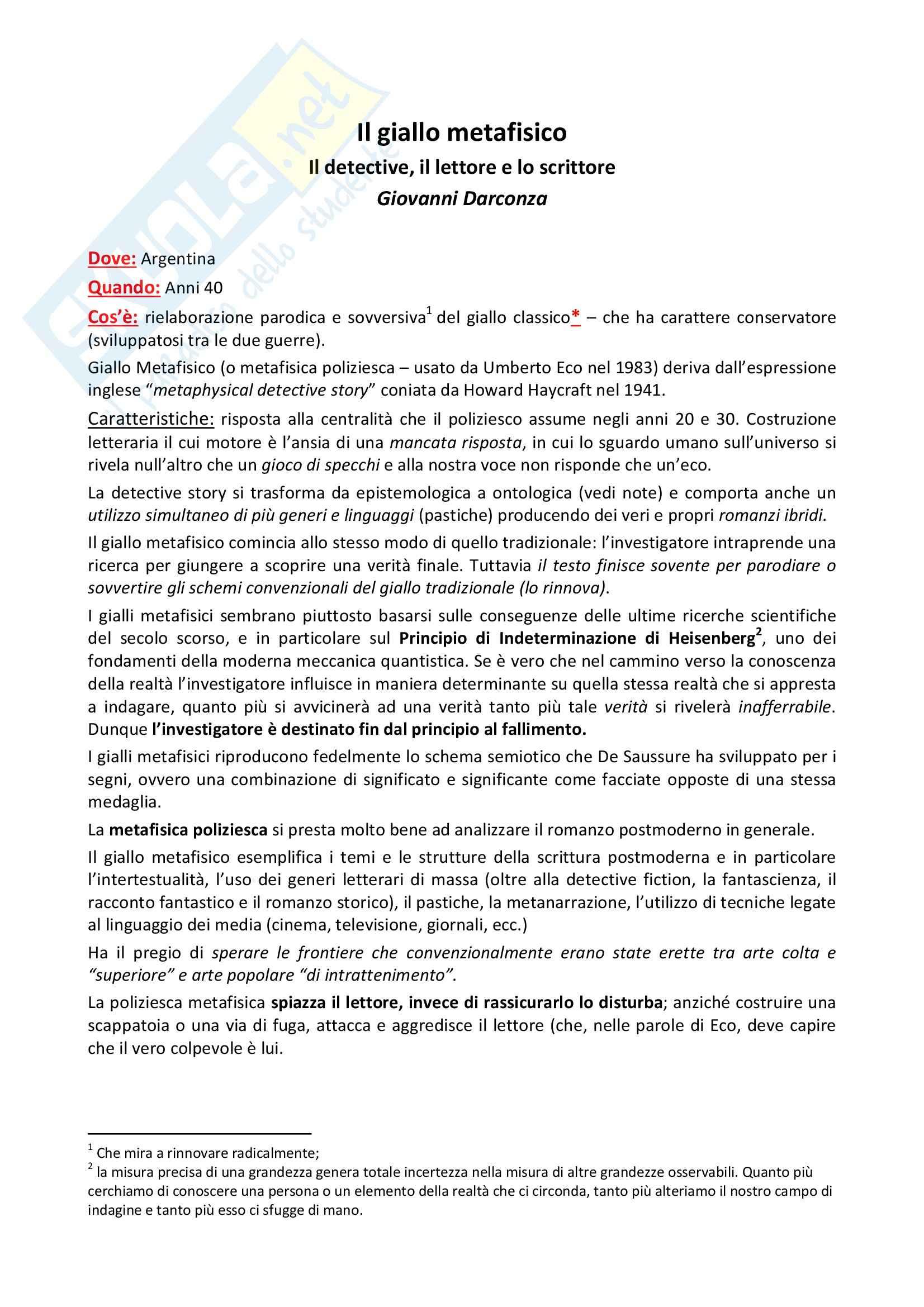 Riassunto esame letteratura angloamericana, prof. Calanchi, libro consigliato Il detective, Darconza
