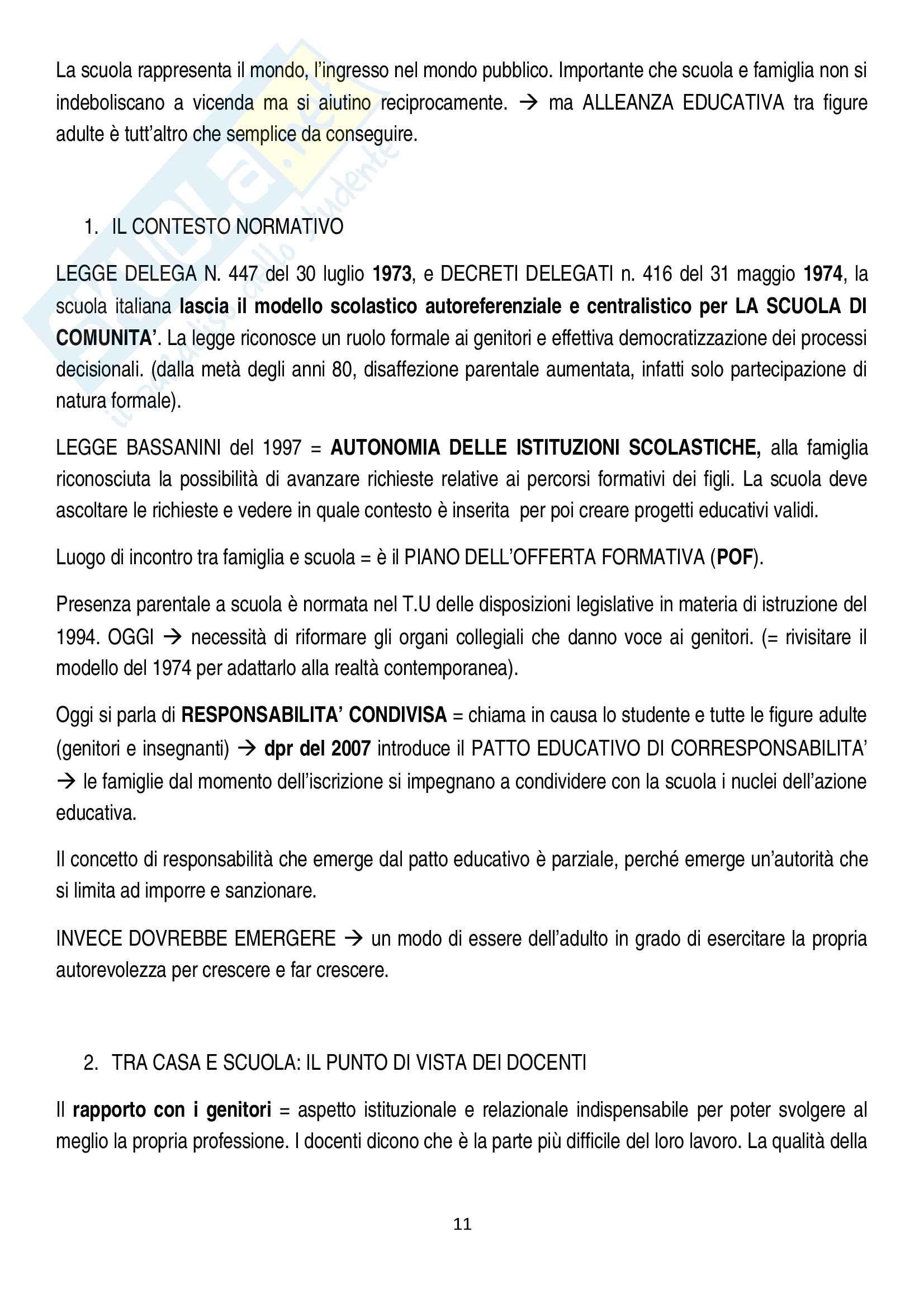 Riassunto esame pedagogia sociale e interculturale, prof. Monica Amadini, libro consigliato Corresponsabilità educativa, Pati-Dusi Pag. 11