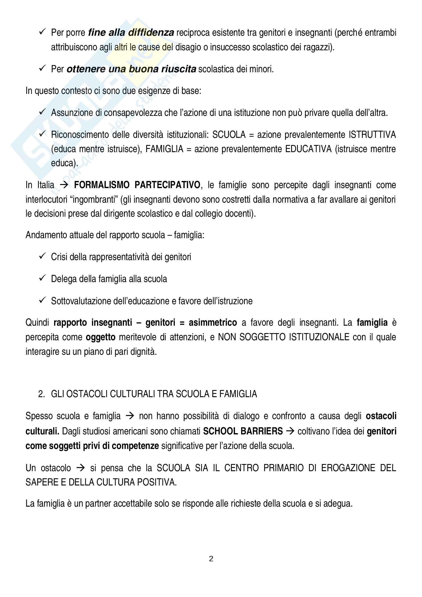 Riassunto esame pedagogia sociale e interculturale, prof. Monica Amadini, libro consigliato Corresponsabilità educativa, Pati-Dusi Pag. 2