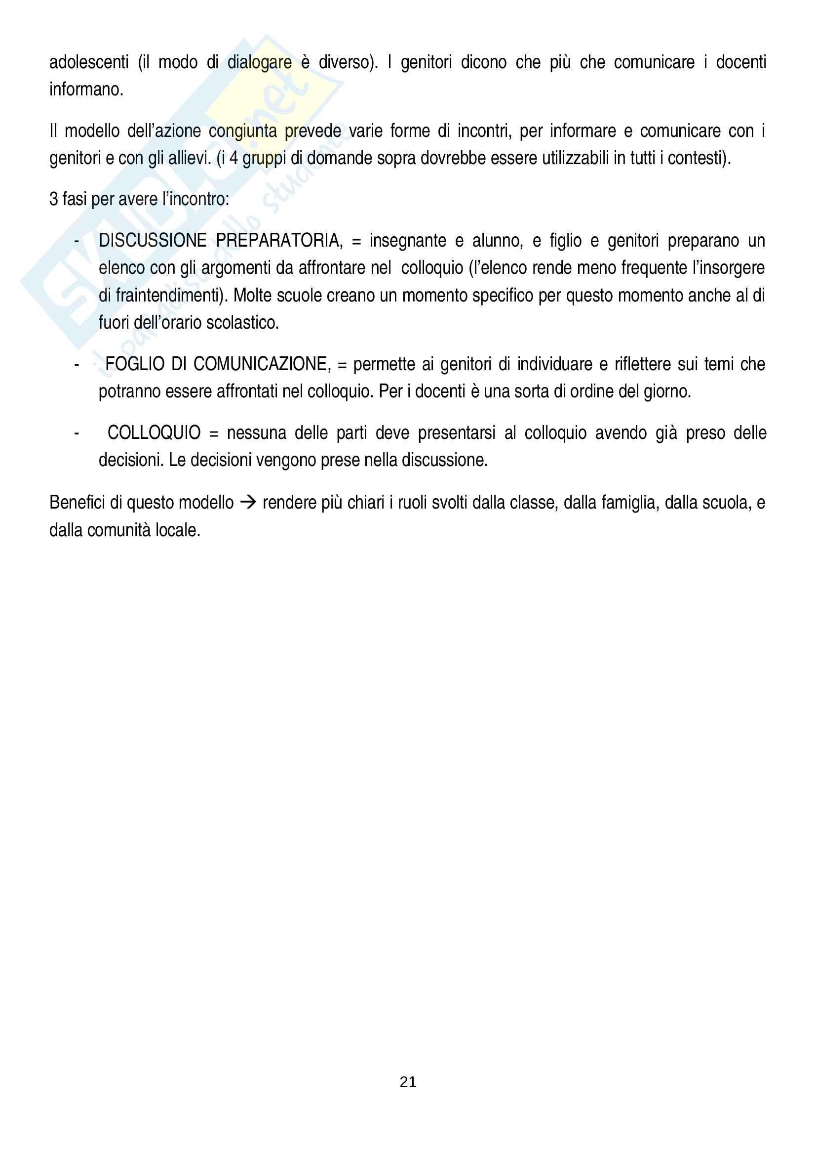 Riassunto esame pedagogia sociale e interculturale, prof. Monica Amadini, libro consigliato Corresponsabilità educativa, Pati-Dusi Pag. 21
