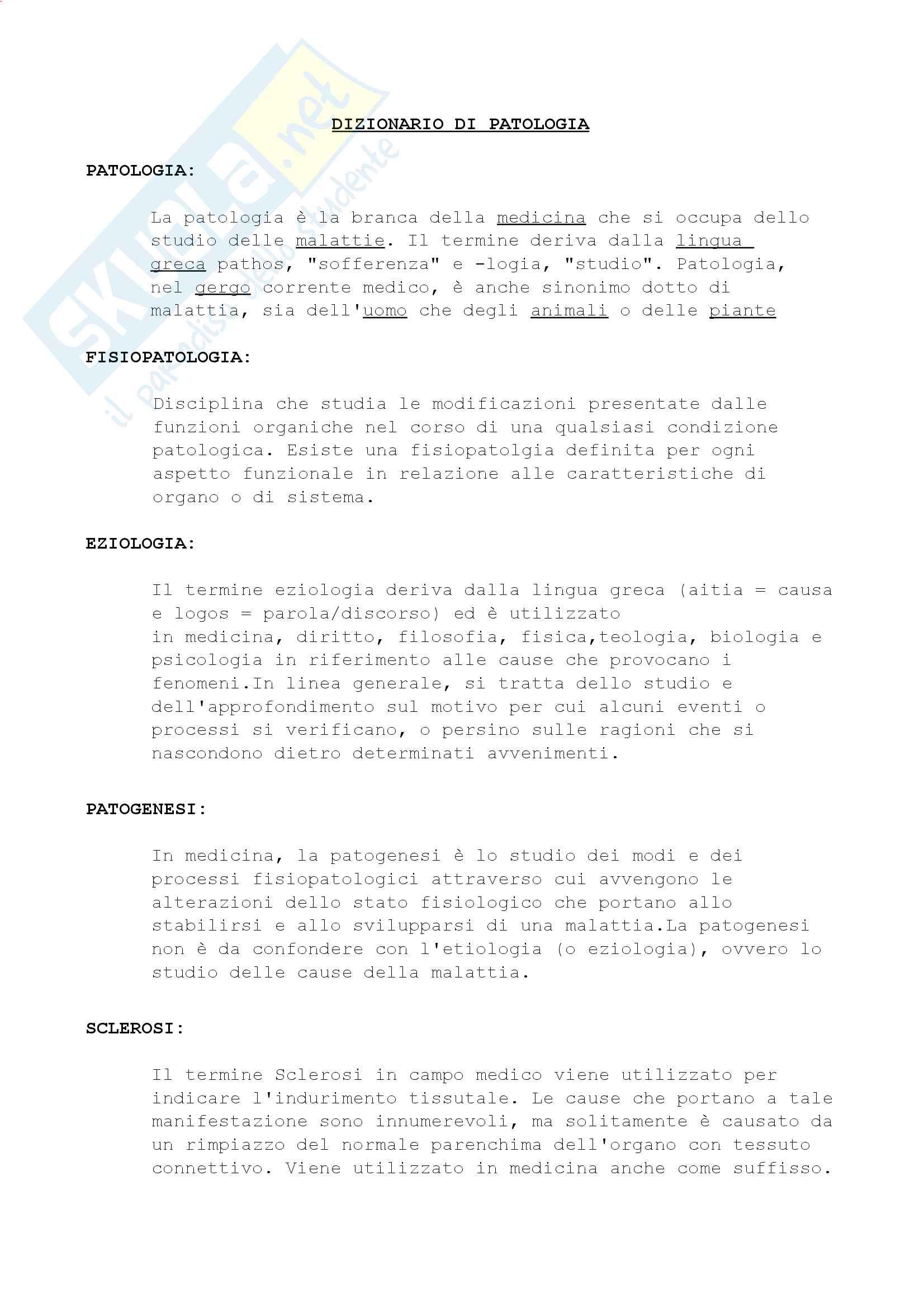 Nomenclatura e definizioni di patologia