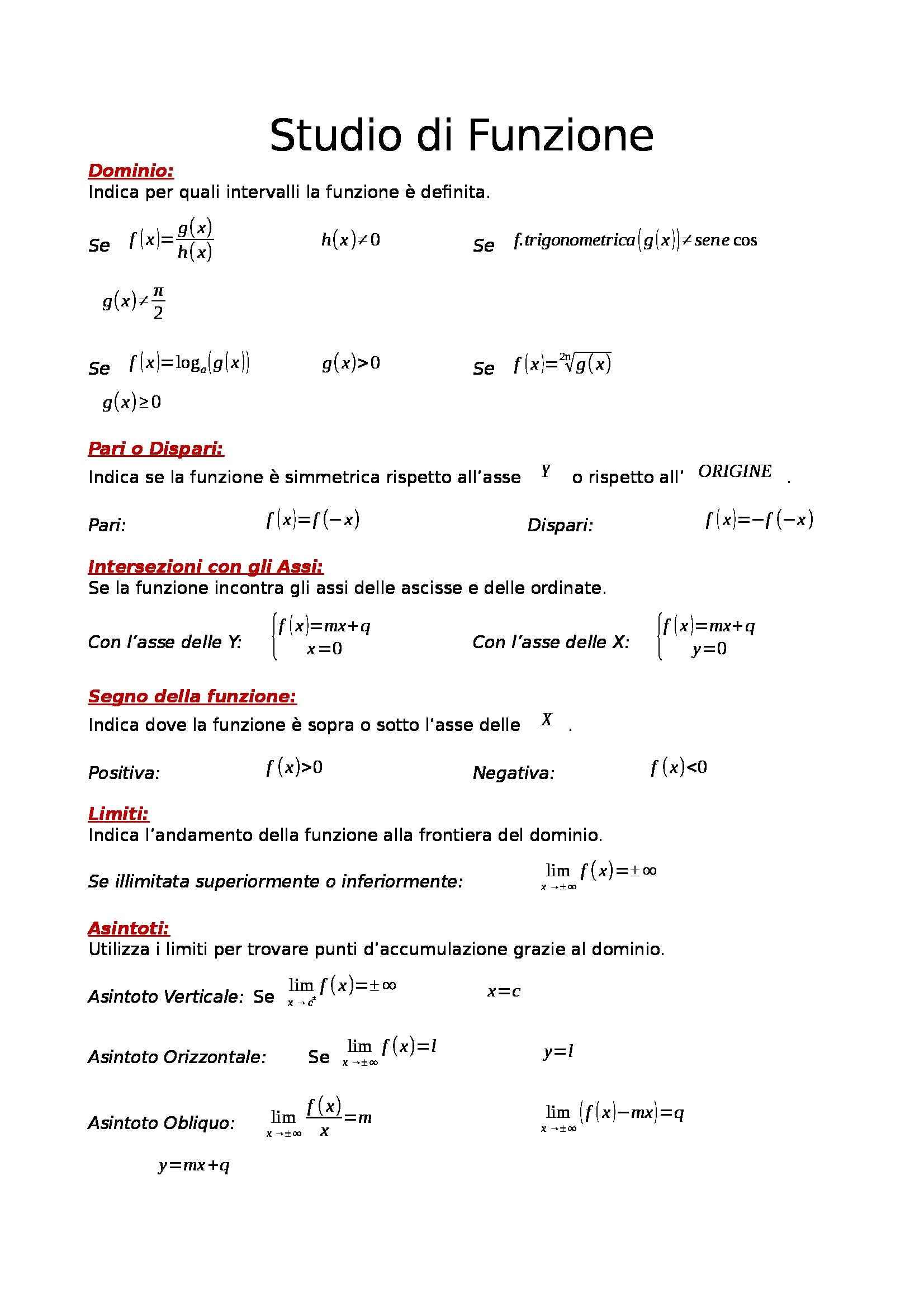 Matematica e laboratorio - formulario per studio di funzione