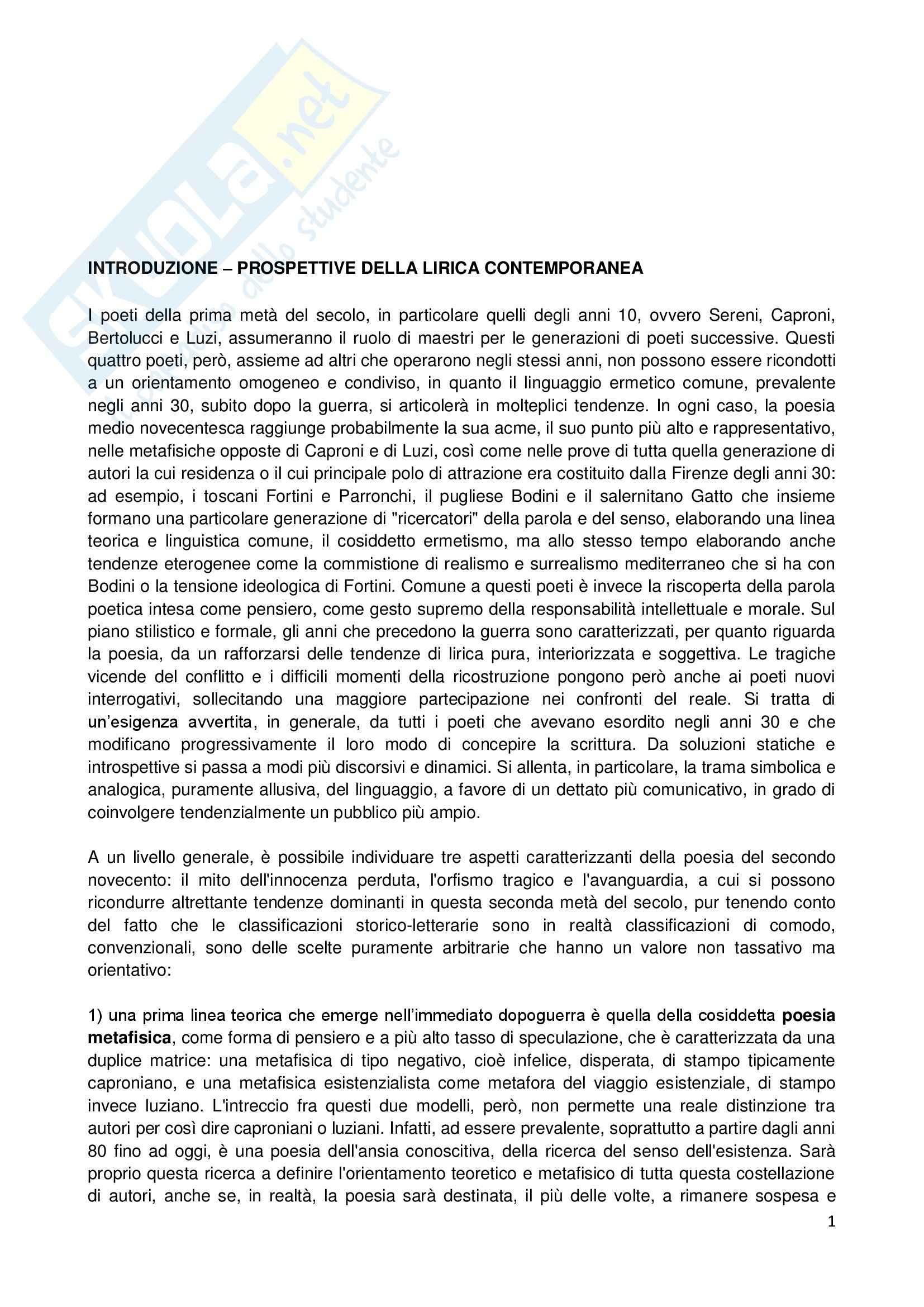 appunto D. Pegorari Letteratura italiana contemporanea