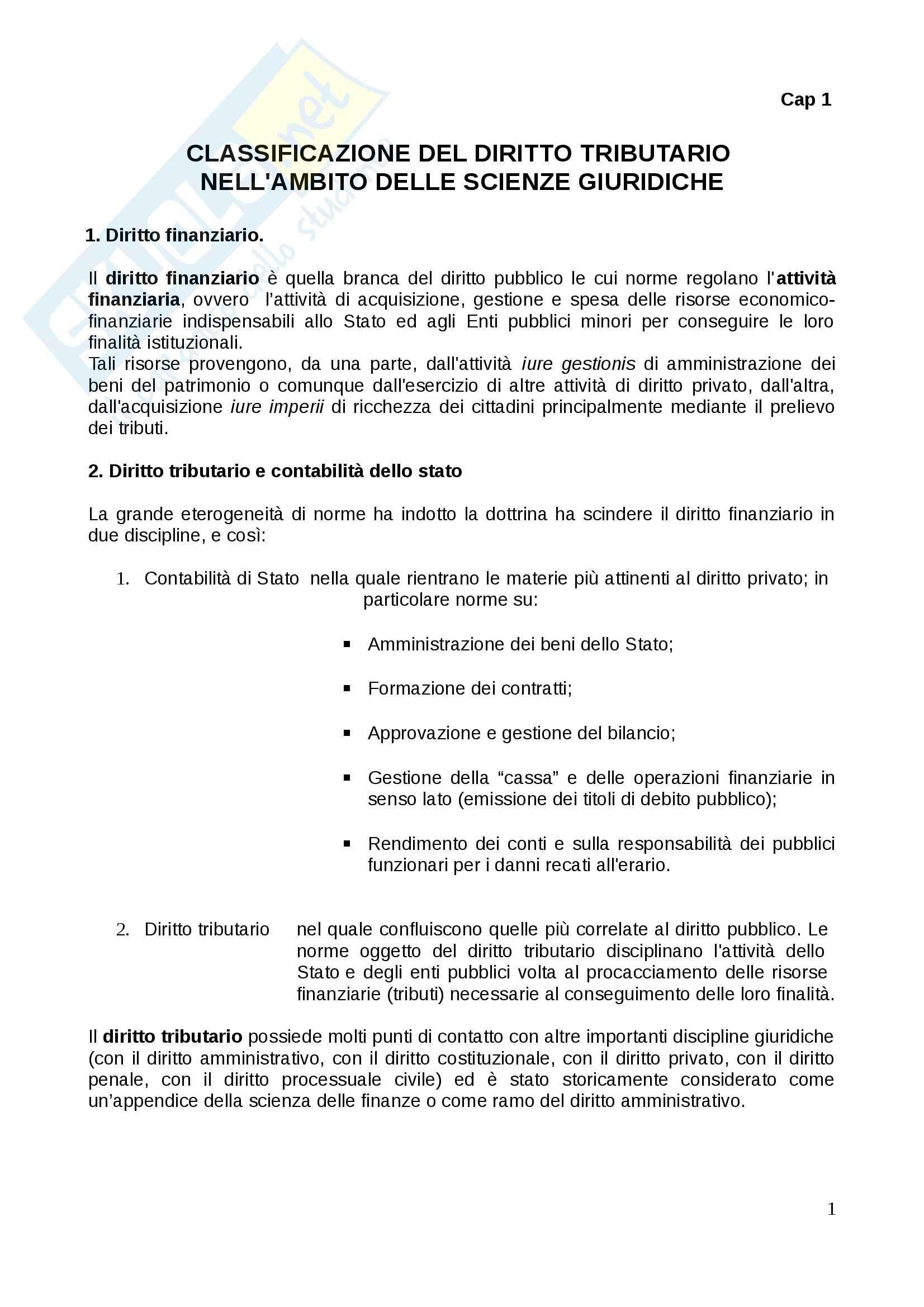 Riassunto esame Diritto Tributario, prof. Tassani, libro consigliato Corso Istituzionale di Diritto Tributario, Falsitta