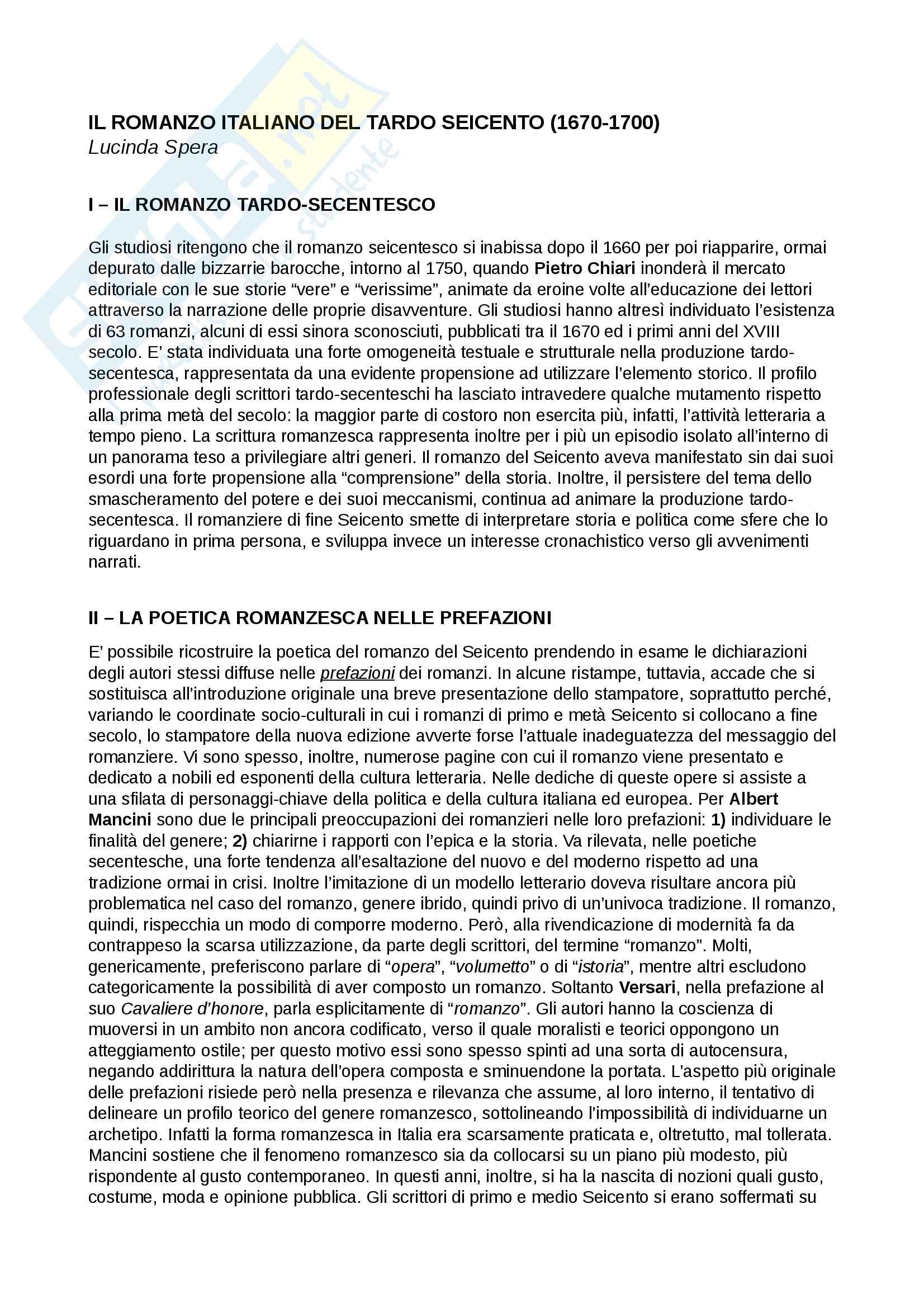 Riassunto esame Testi e questioni di letteratura italiana, Prof. Storini, libro consigliato Il romanzo italiano del tardo Seicento