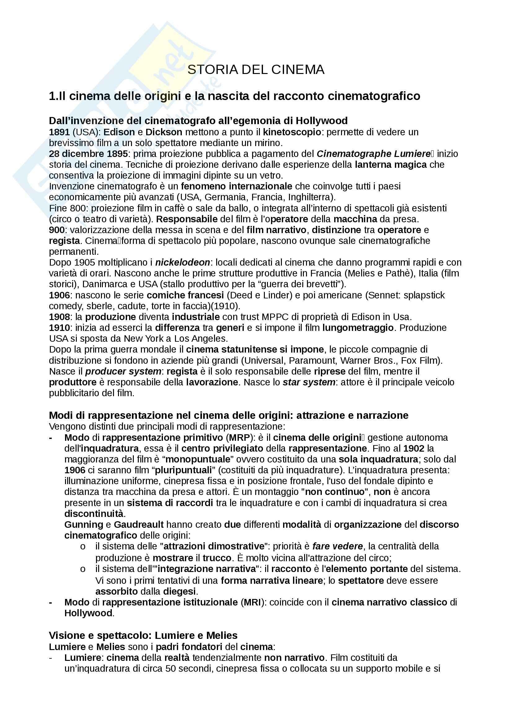 Riassunto esame Storia del cinema, prof. Pesce, libro consigliato Introduzione alla storia del cinema, Bertetto