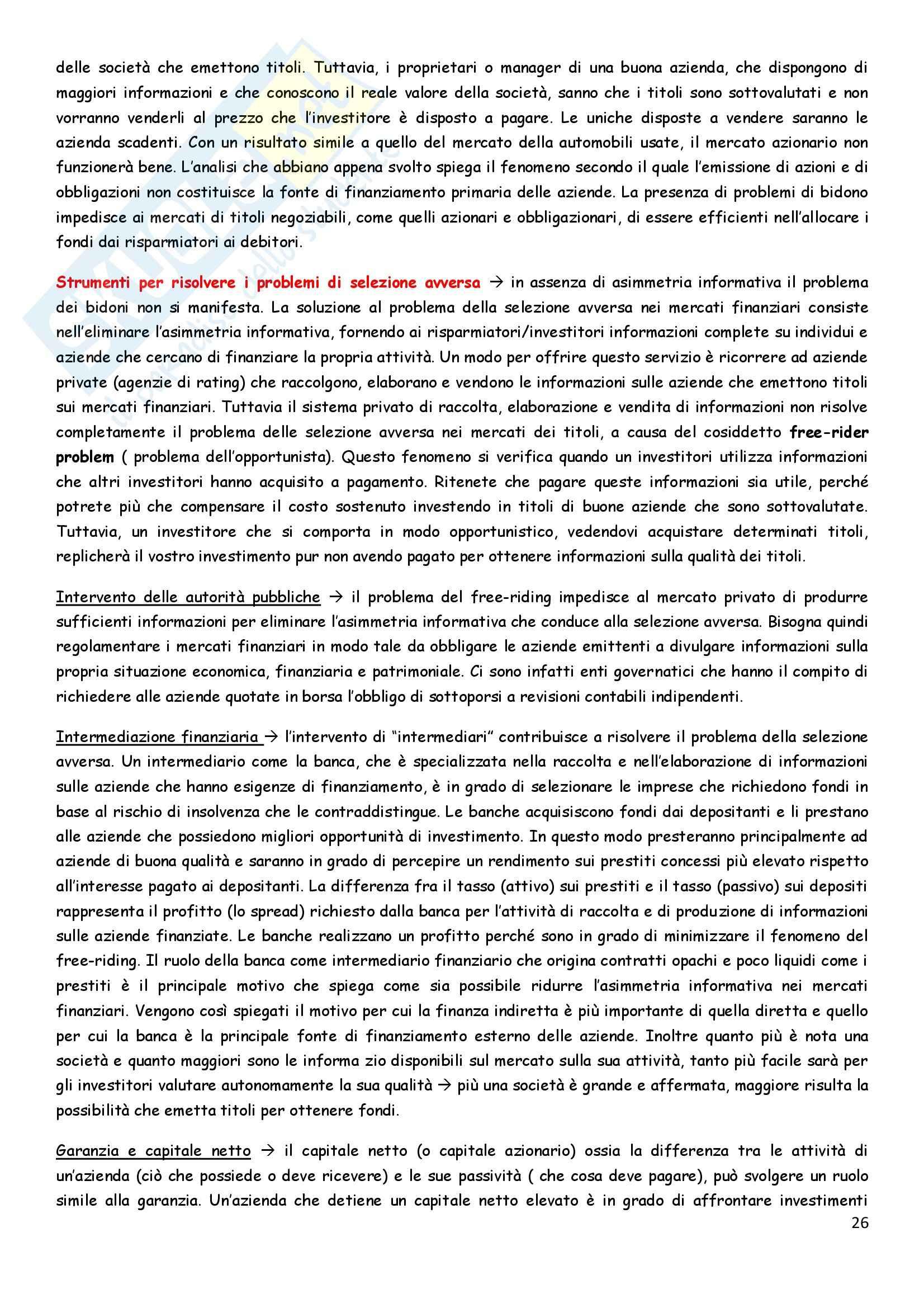 Riassunto esame Economia degli intermediari finanziari, prof. Pia, libro consigliato Istituzioni e Mercati finanziari, Mishkin, Eakins, Forestieri Pag. 26