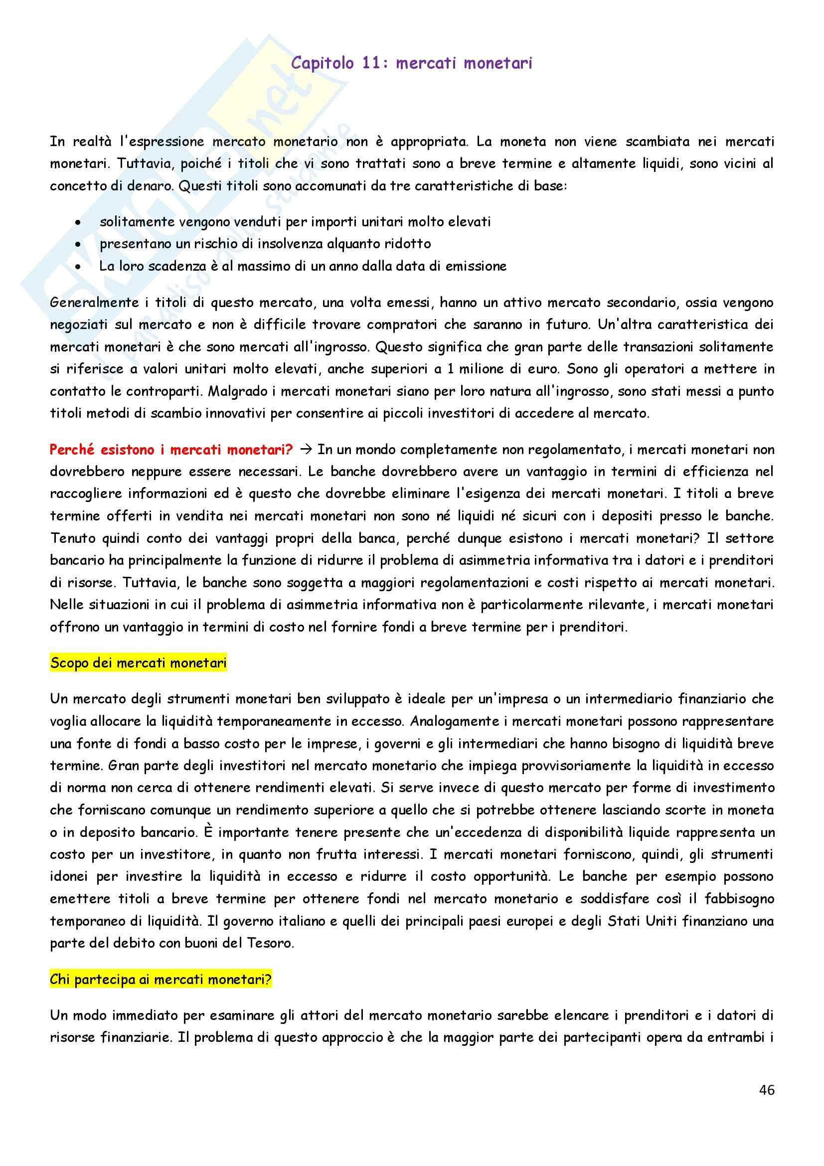 Riassunto esame Economia degli intermediari finanziari, prof. Pia, libro consigliato Istituzioni e Mercati finanziari, Mishkin, Eakins, Forestieri Pag. 46
