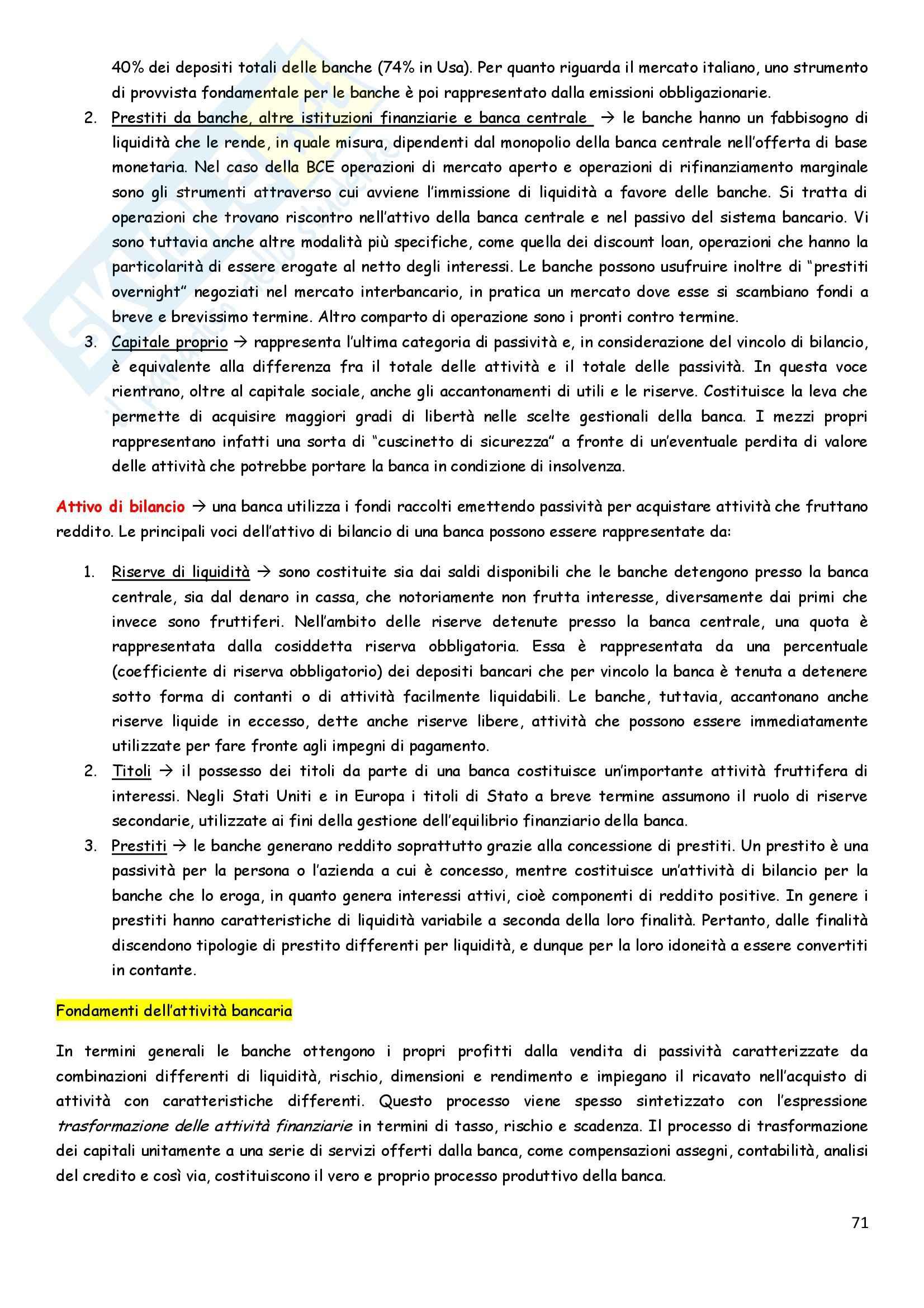 Riassunto esame Economia degli intermediari finanziari, prof. Pia, libro consigliato Istituzioni e Mercati finanziari, Mishkin, Eakins, Forestieri Pag. 71