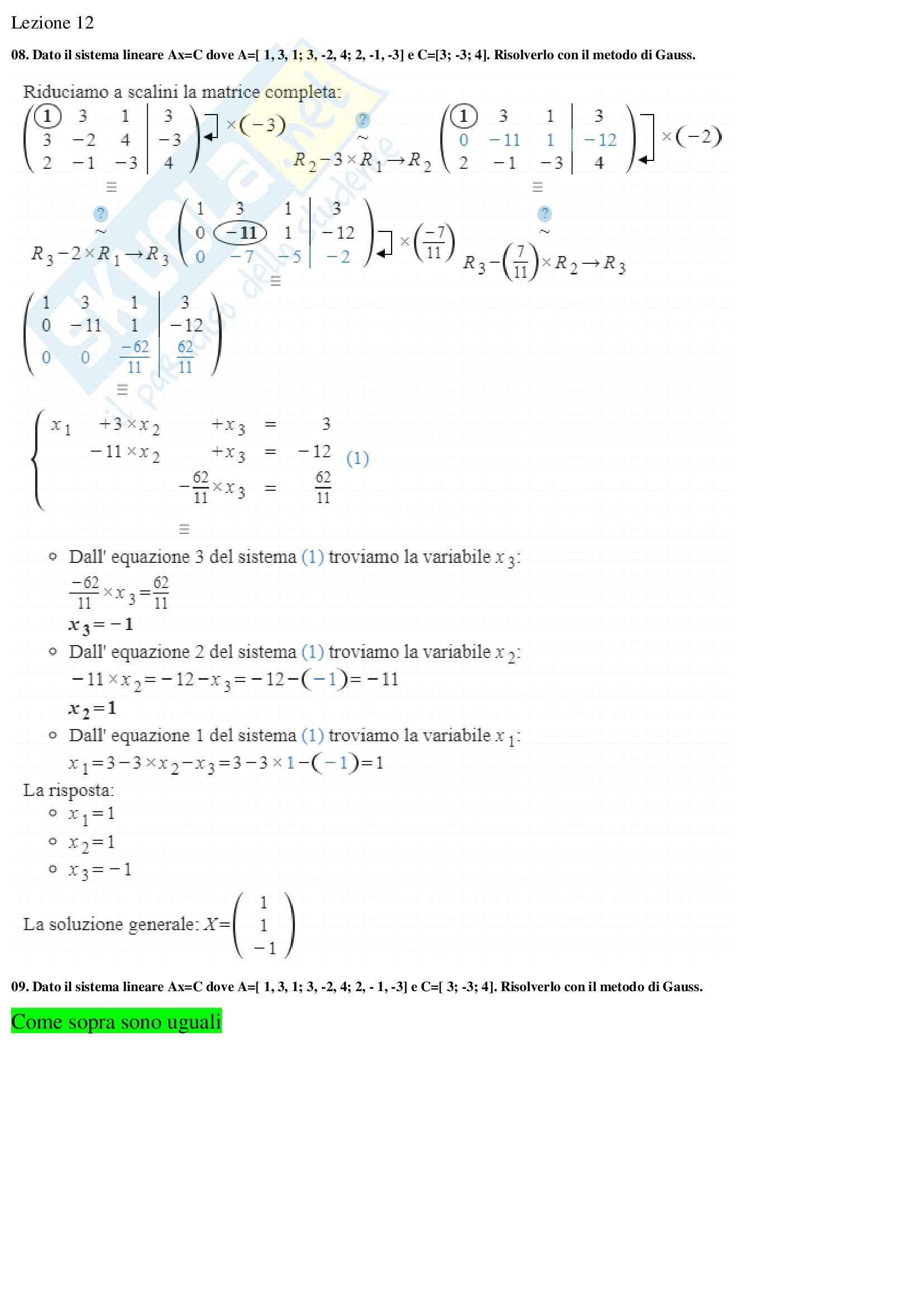 Domande aperte analisi numerica