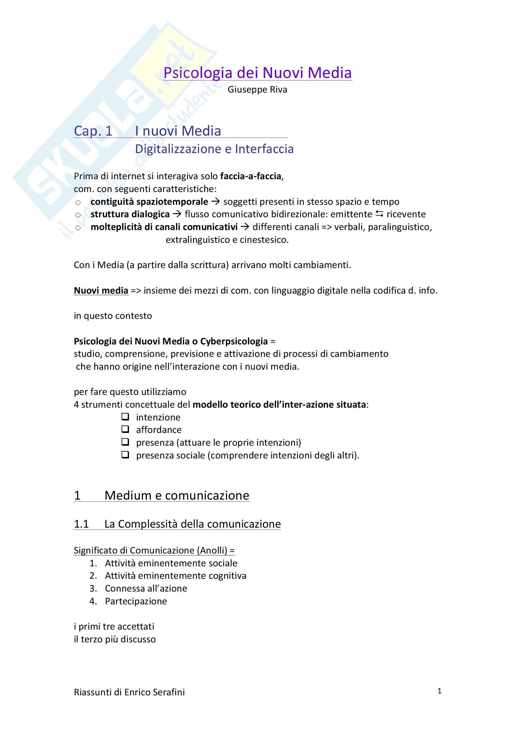 Riassunto esame Psicologia della Comunicazione, docente Riva, libro consigliato Psicologia dei Nuovi Media, Riva