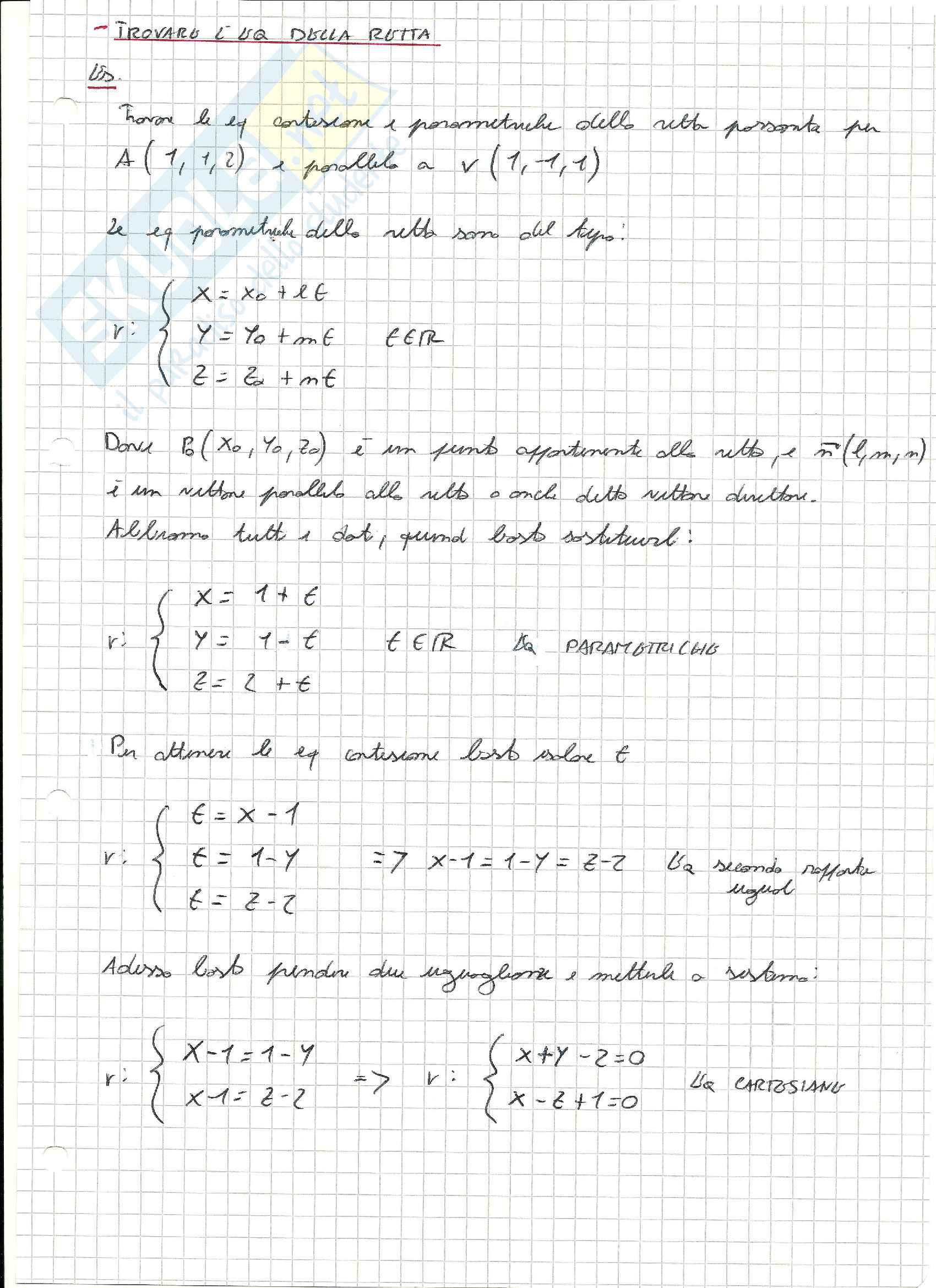 Esercizi svolti di Geometria lineare e analitica Pag. 11