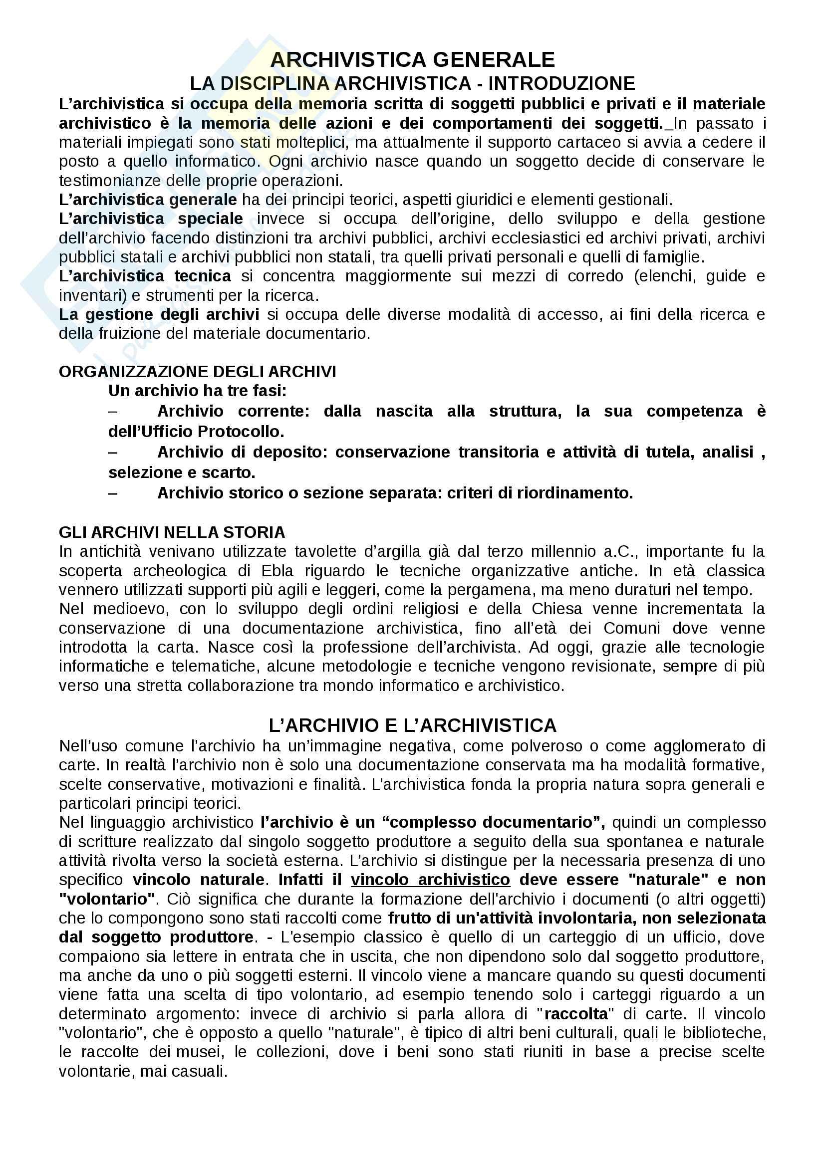 Riassunto esame Archivistica Generale , prof. Zaccaria R., libro consigliato Archivistica Generale, Romiti