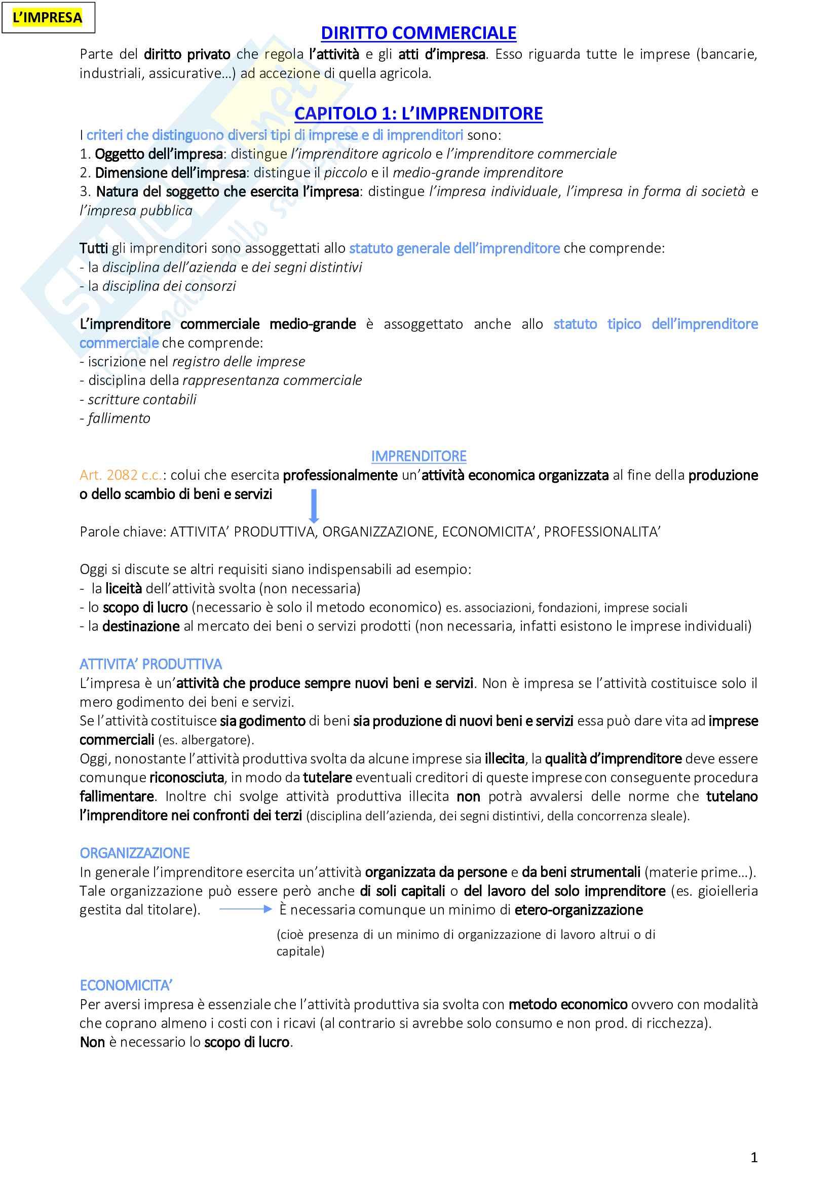 Riassunto esame diritto commerciale, prof. Morini, libro consigliato Manuale di diritto commerciale, Campobasso