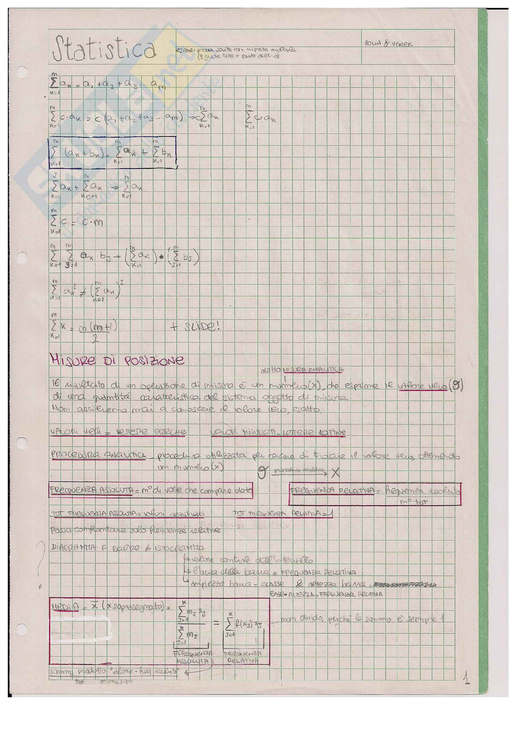 Formule e spiegazione: Appunti di Statistica