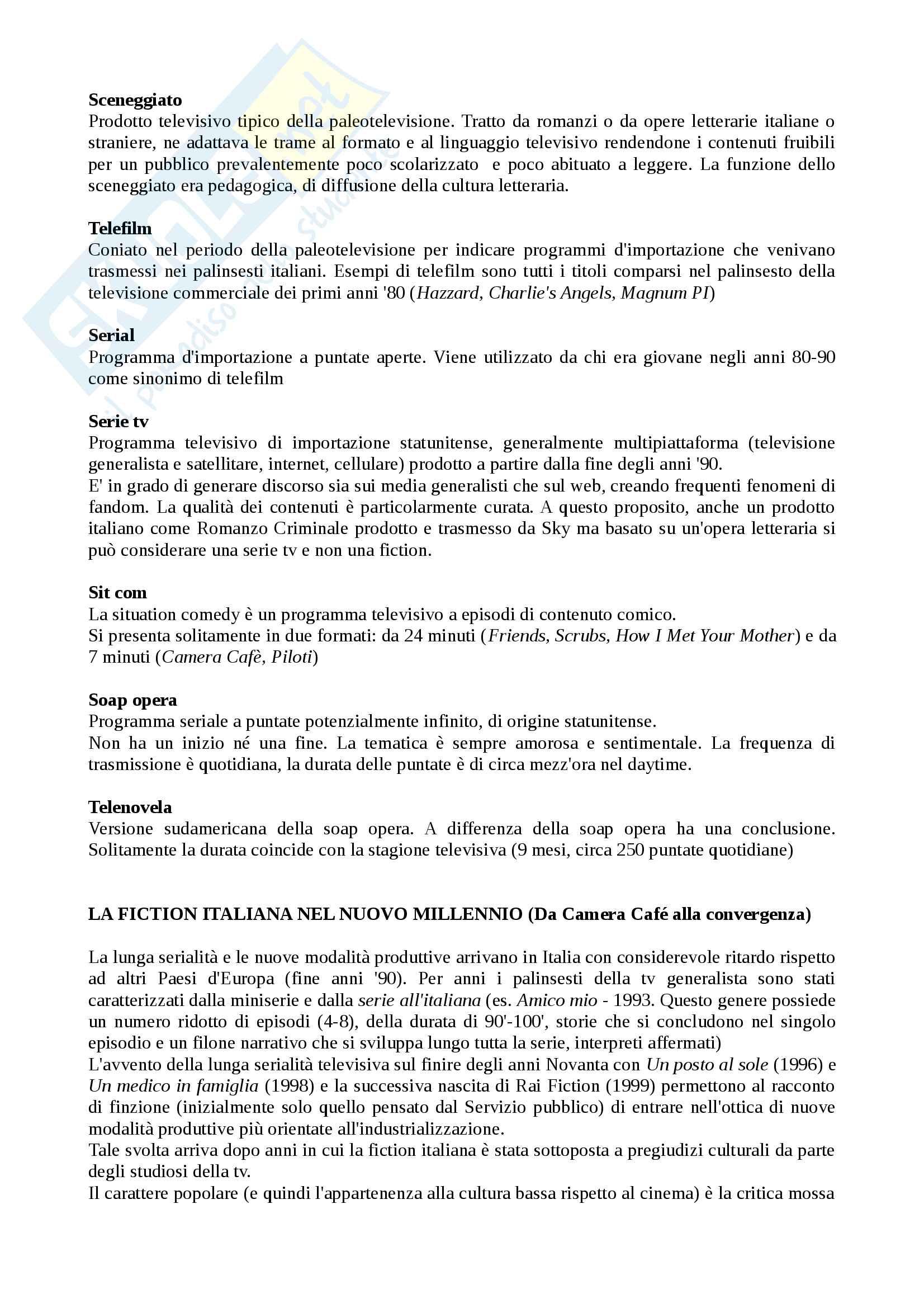 Riassunto esame Teorie e Tecniche della Fiction Radiotelevisiva, prof. Cardini, libro consigliato Le Serie Sono Serie, Cardini Pag. 2