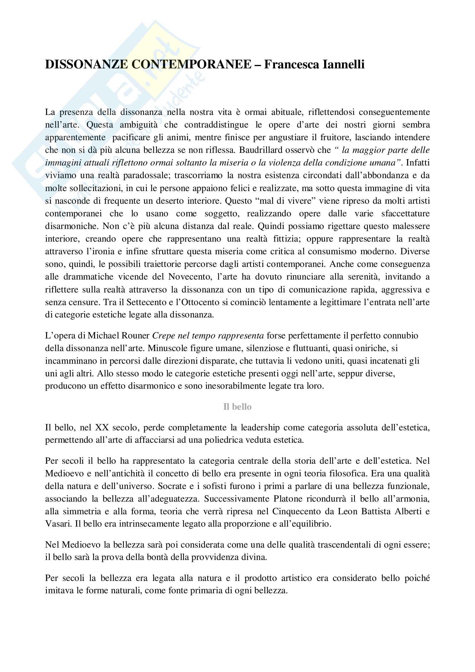 Riassunti estetica, prof. Iannelli, libro consigliato Dissonanze contemporanee