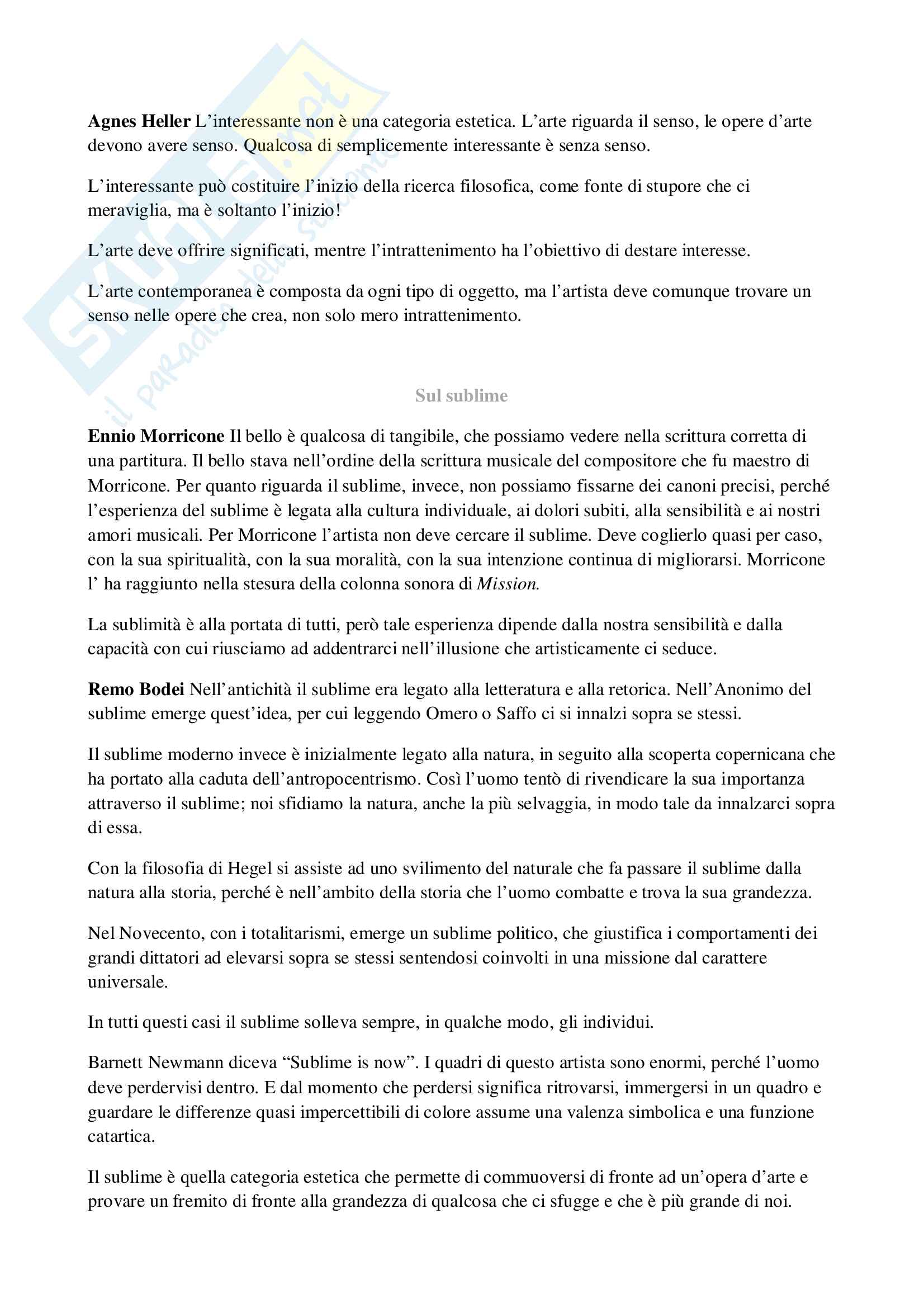 Riassunti estetica, prof. Iannelli, libro consigliato Dissonanze contemporanee Pag. 21