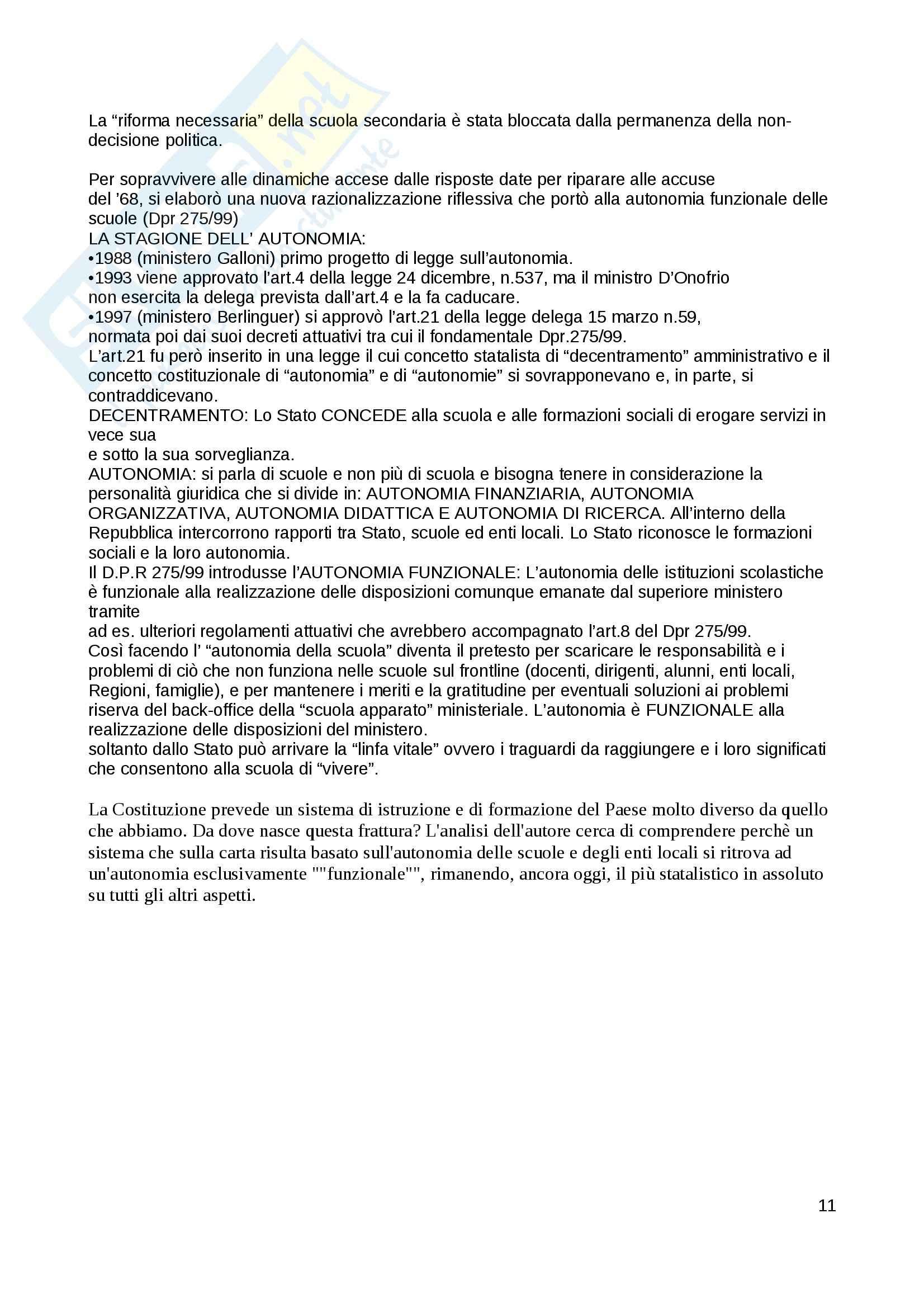 Riassunto esame Pedagogia generale, prof. Bertagna, libro consigliato Autonomia: storia, bilancio e rilancio di un'idea, Bertagna Pag. 11