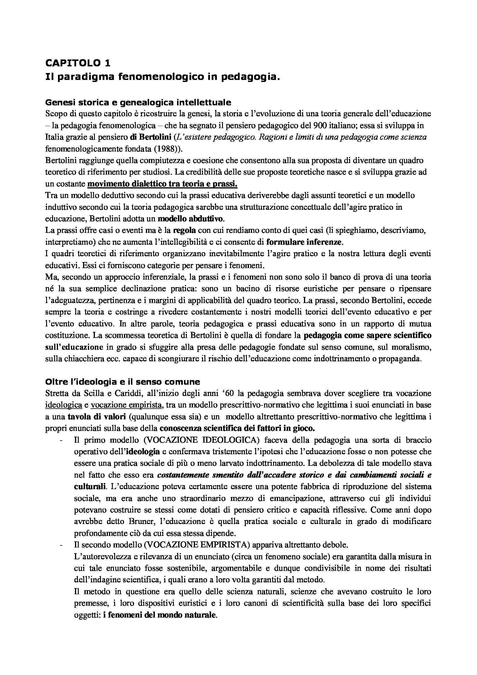 Riassunto esame Pedagogia delle migrazioni, prof. Caronia, libro consigliato Fenomenologia dell'educazione