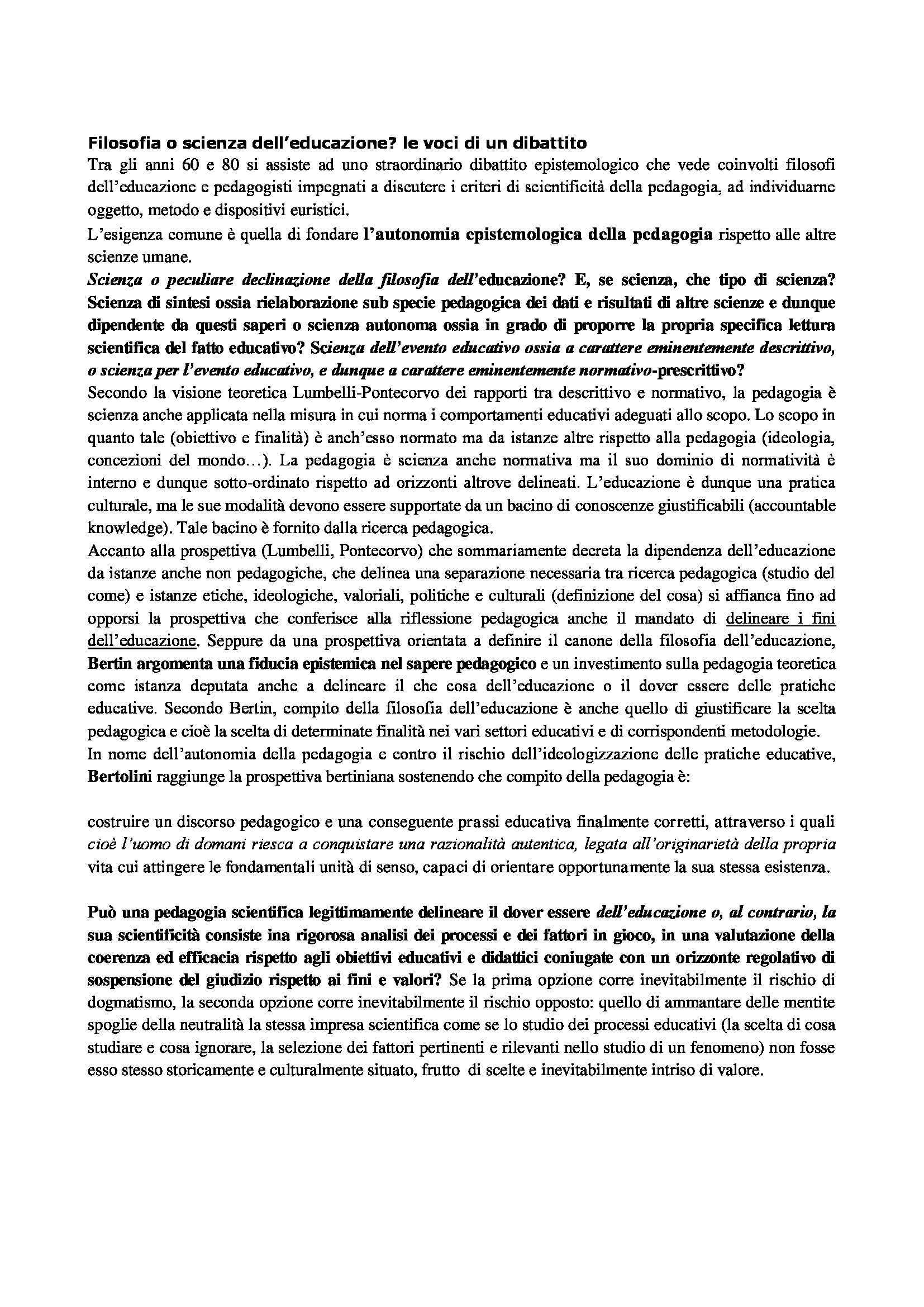 Riassunto esame Pedagogia delle migrazioni, prof. Caronia, libro consigliato Fenomenologia dell'educazione Pag. 2