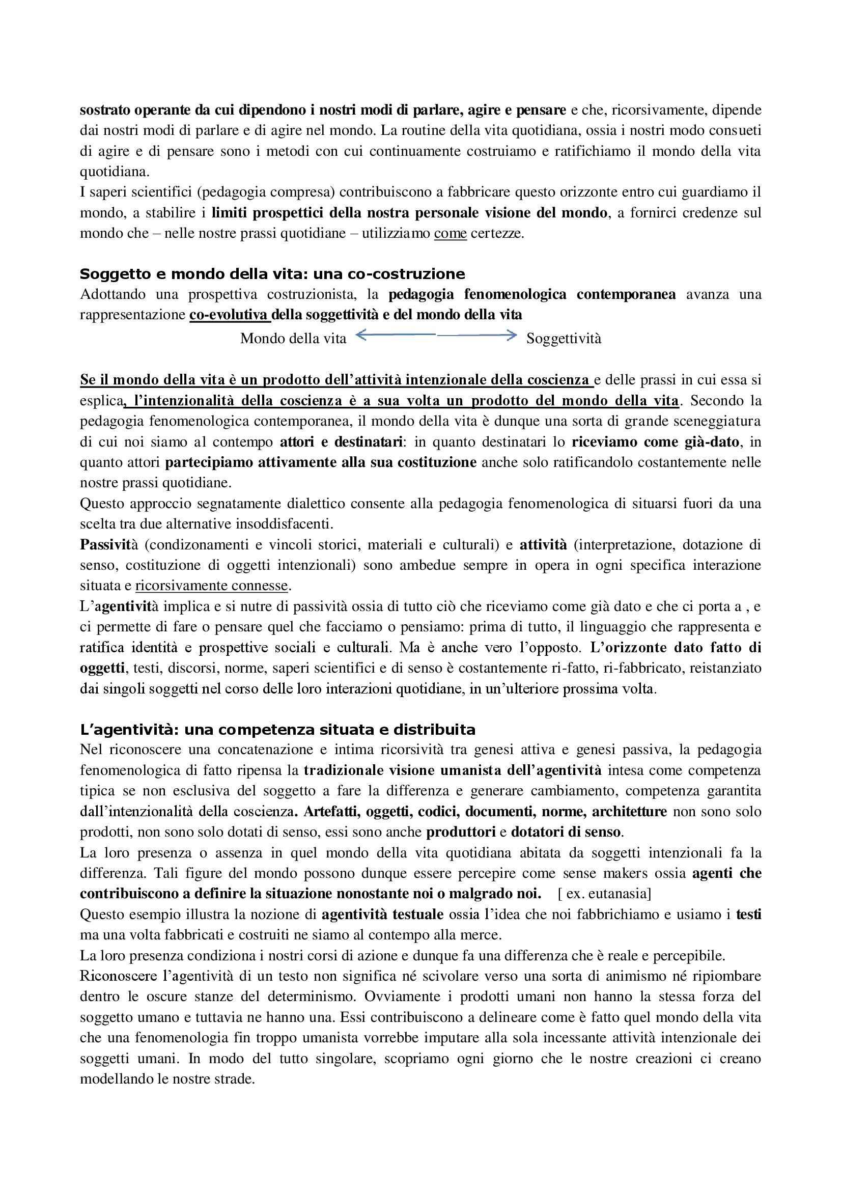Riassunto esame Pedagogia delle migrazioni, prof. Caronia, libro consigliato Fenomenologia dell'educazione Pag. 21