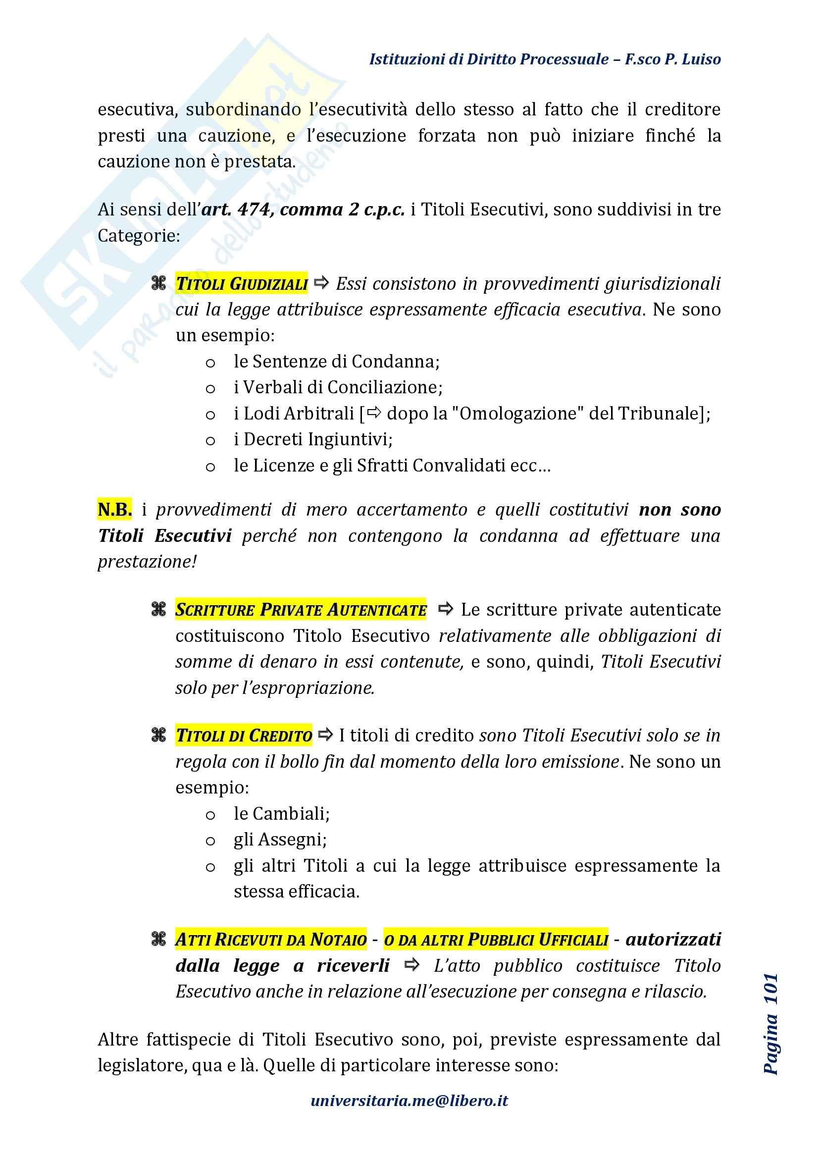 Riassunto esame Diritto Processuale Civile, Prof Marzocchi, libro consigliato Istituzioni di Diritto Processuale Civile, Luiso Pag. 101