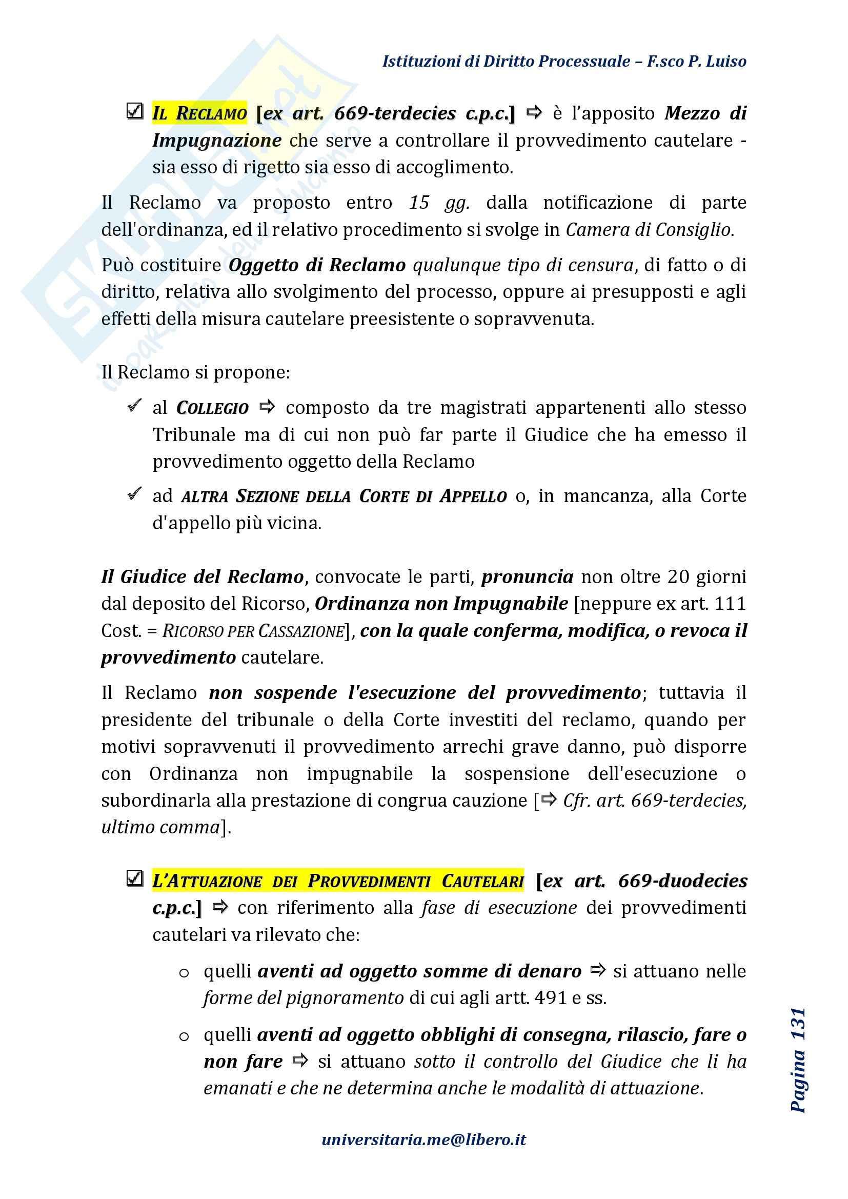 Riassunto esame Diritto Processuale Civile, Prof Marzocchi, libro consigliato Istituzioni di Diritto Processuale Civile, Luiso Pag. 131