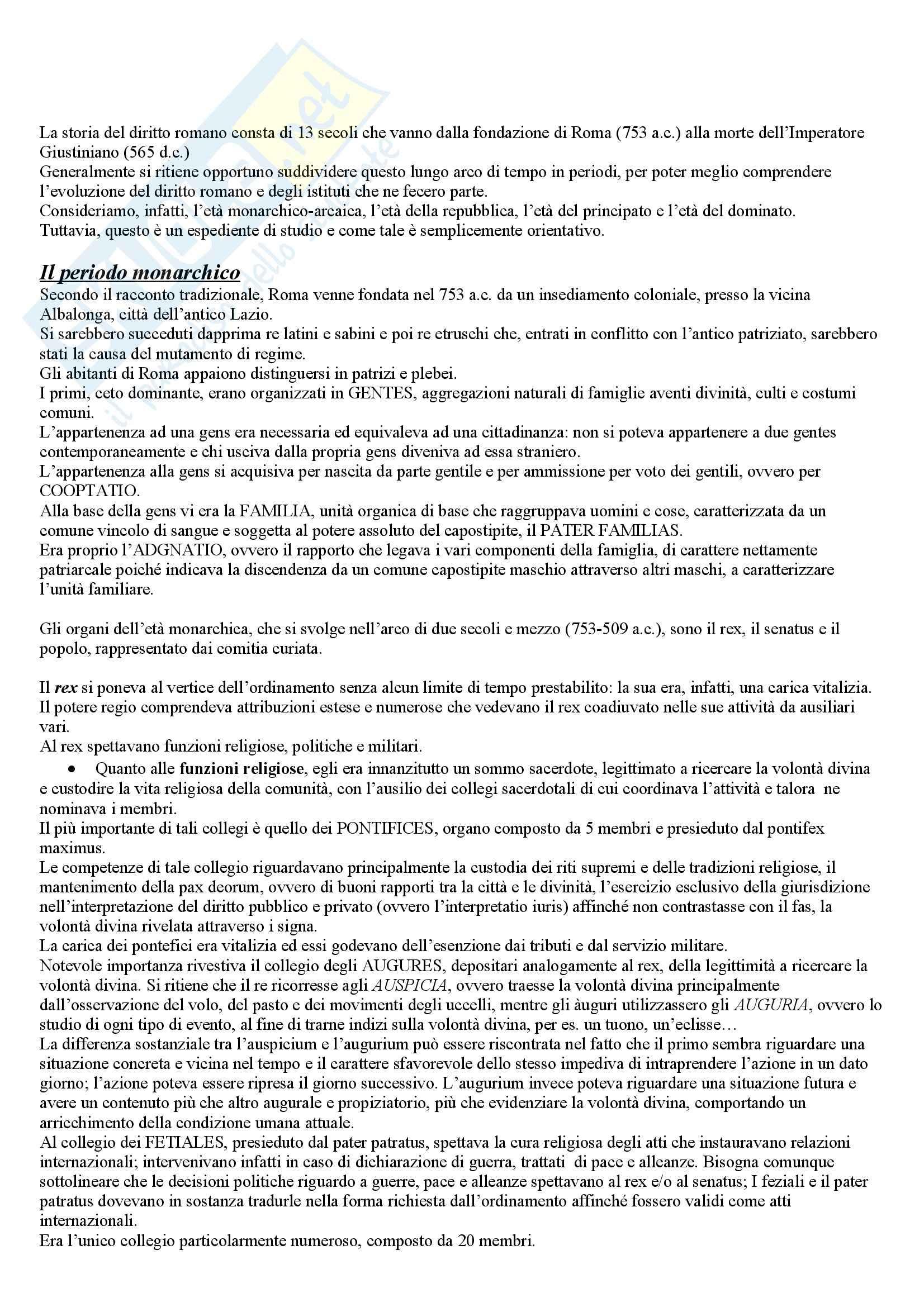 Riassunto esame Diritto Romano, prof. Sanguinetti, libro consigliato Storia del diritto romano, Cerami, Corbino