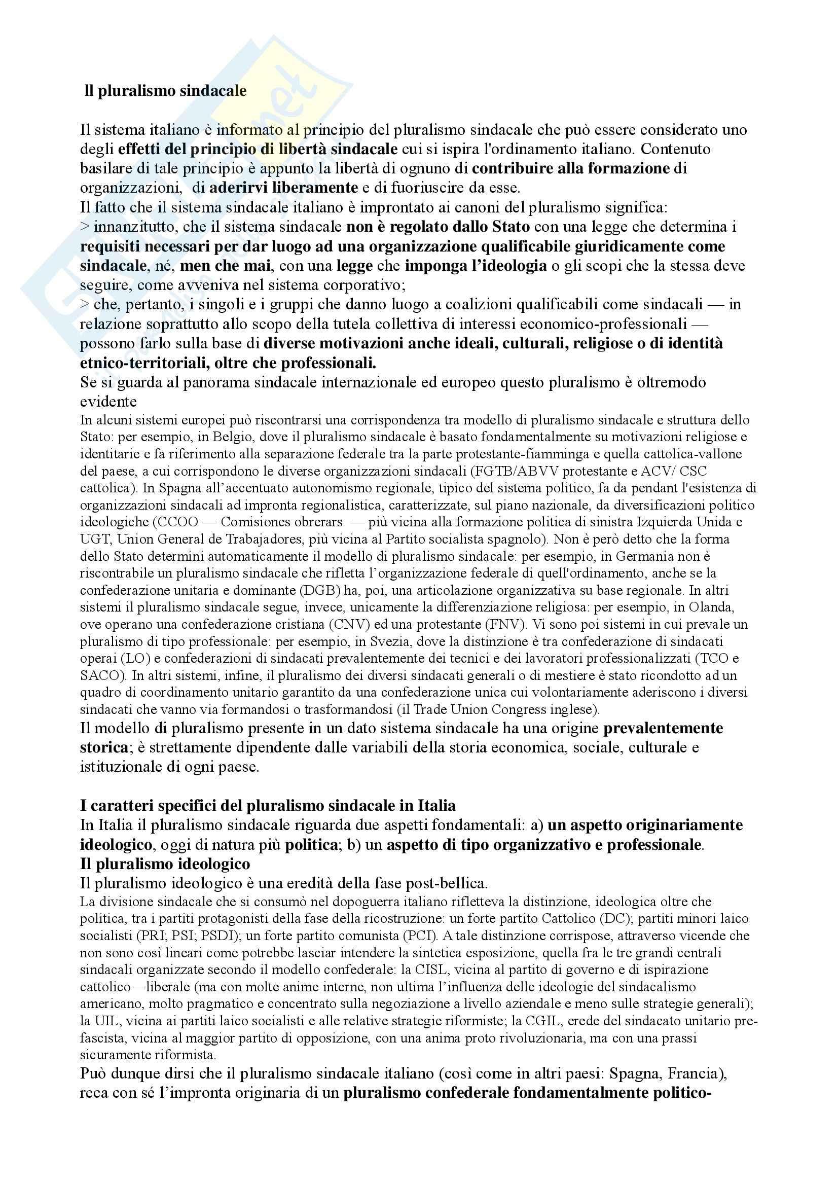 Riassunto esame Diritto del Lavoro, prof. Caruso, libro consigliato Diritto Sindacale