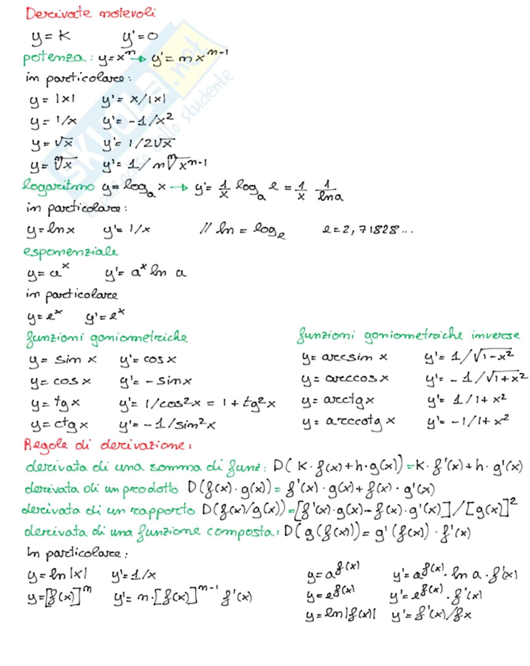 Derivate notevoli e regole di derivazione