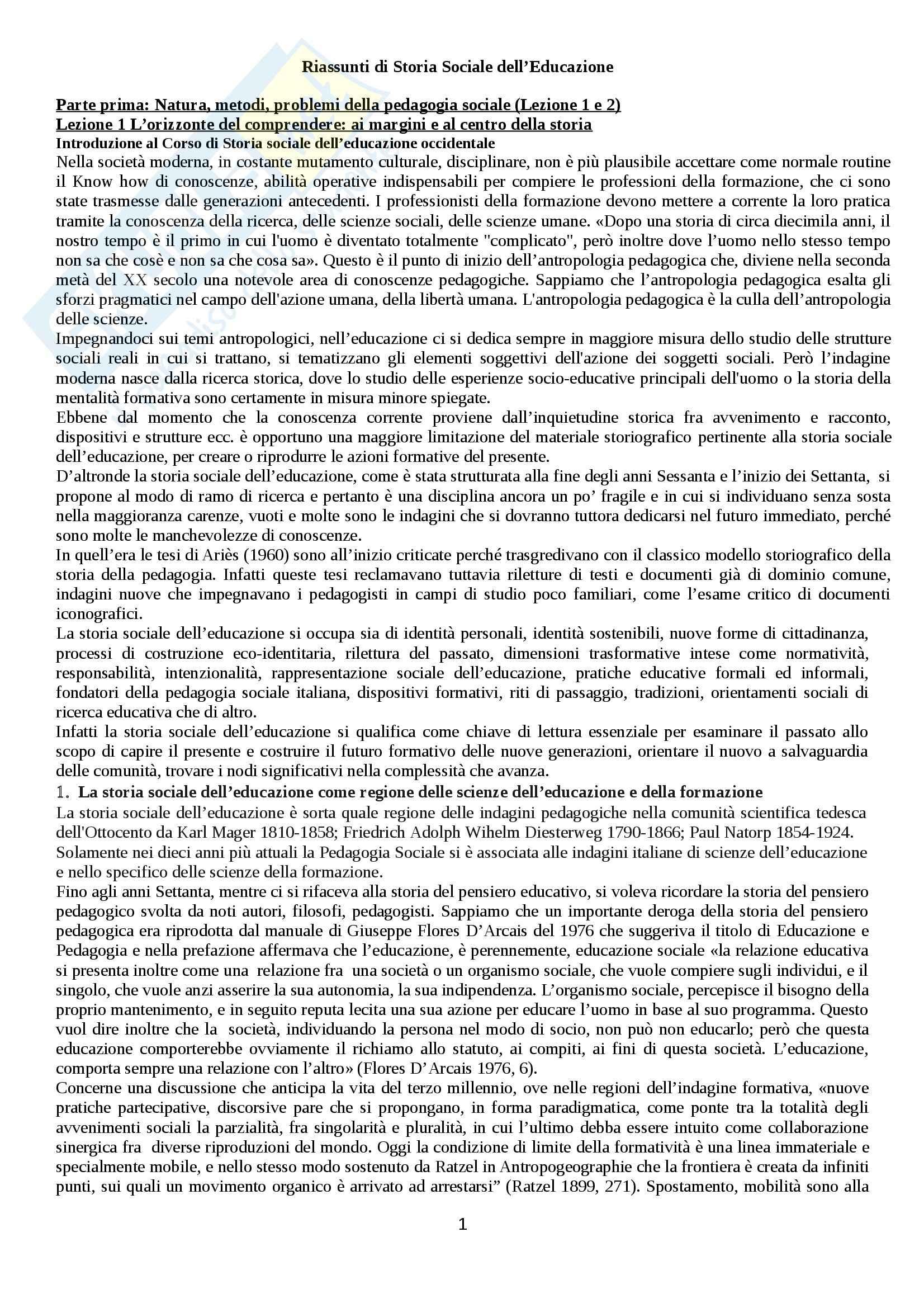 Riassunto esame Storia sociale dell'educazione, prof. Minello