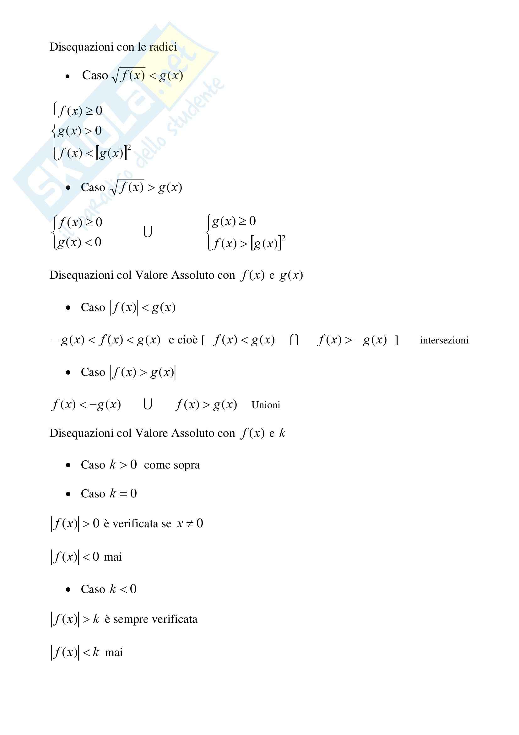 Matematica - Schema risoluzione disequazioni