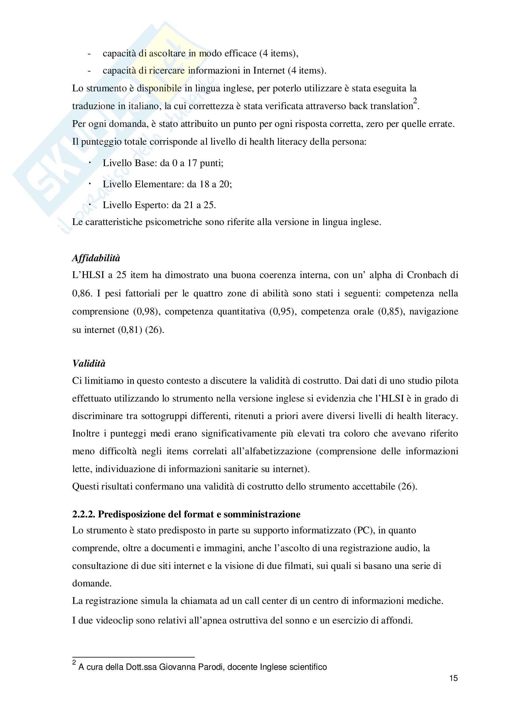 La health literacy in soggetti con insufficienza renale cronica sottoposti a dialisi Pag. 16
