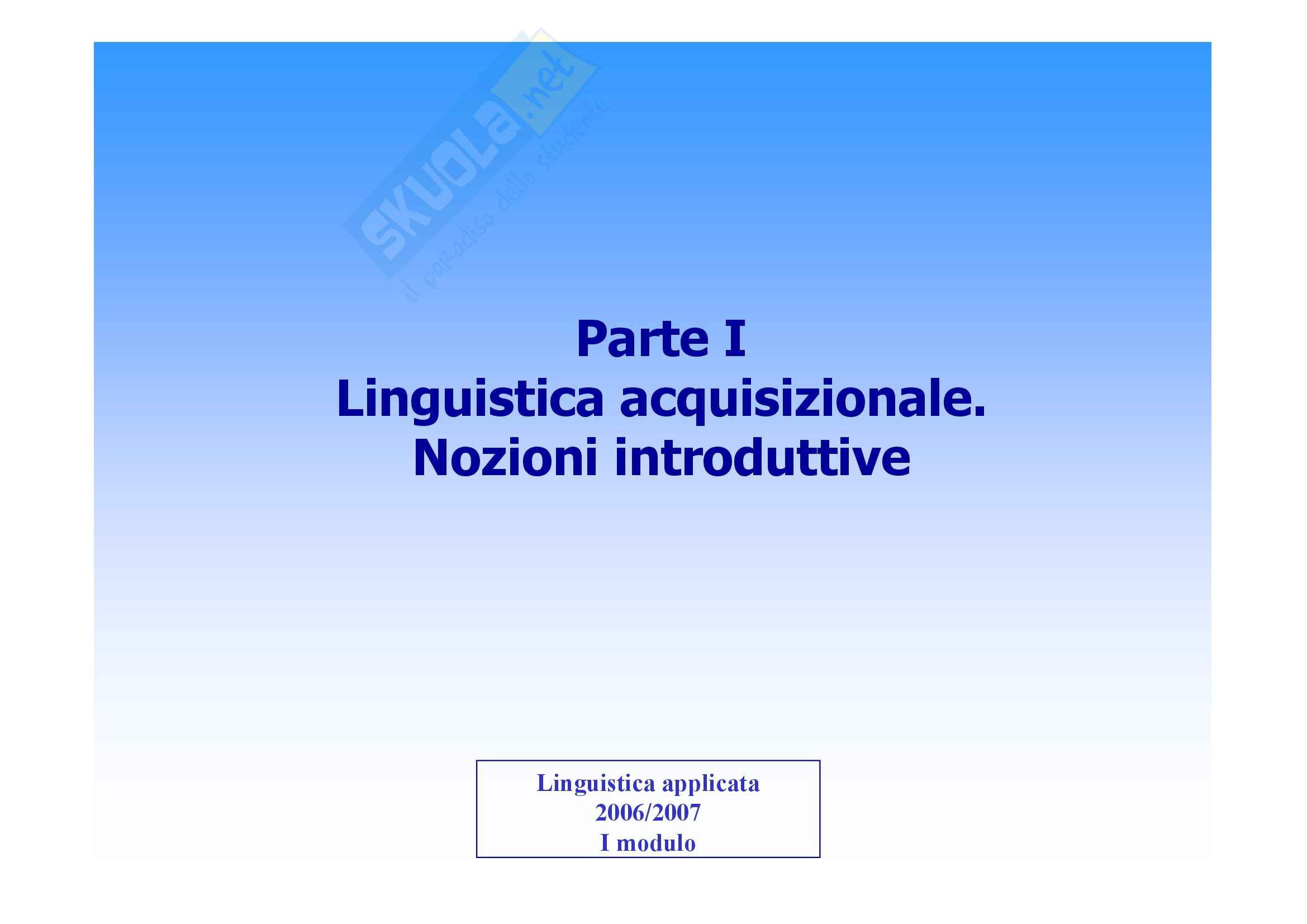 Linguistica applicata - Appunti (prima parte)
