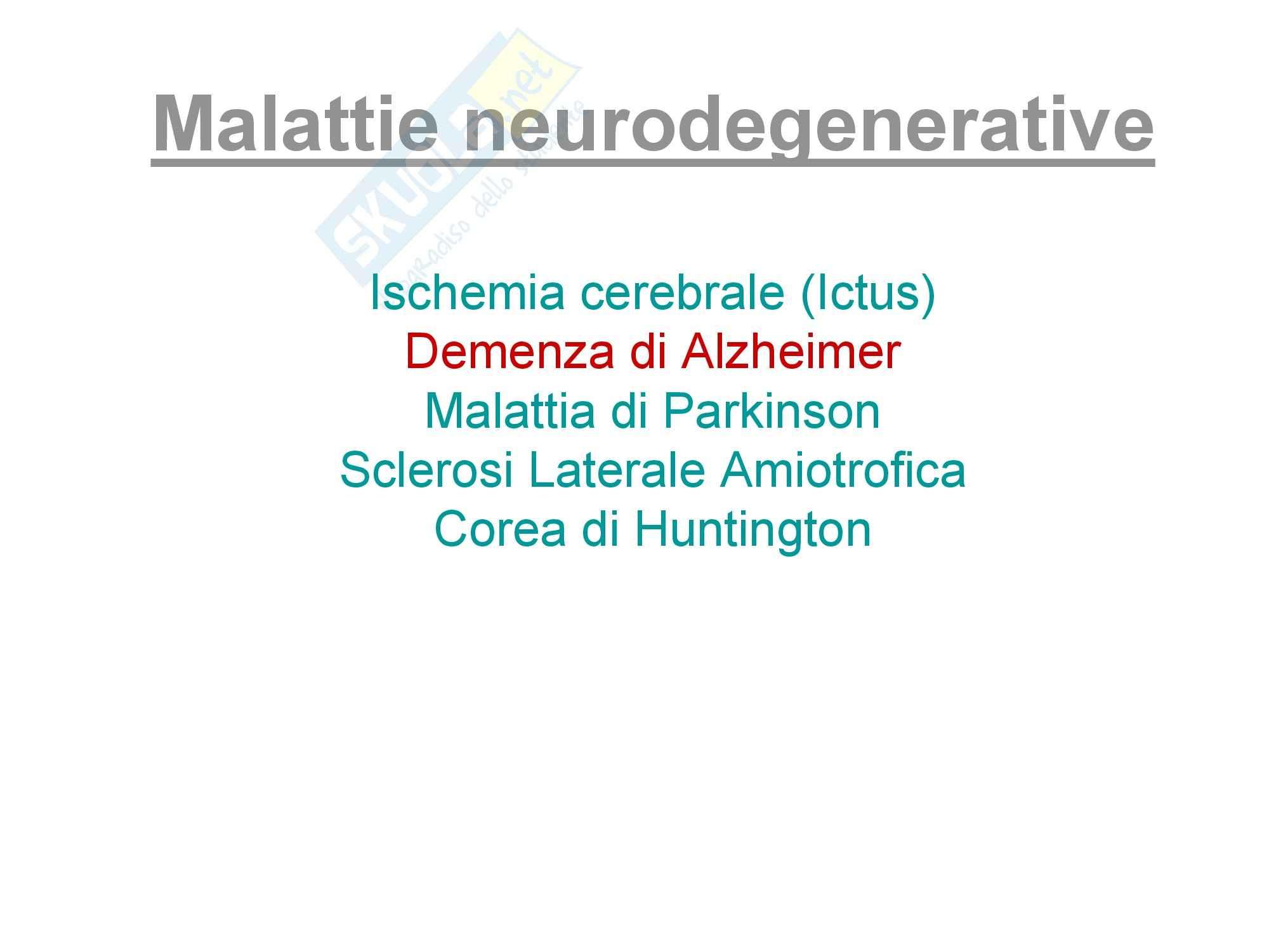 Farmacologia - Malattie neurodegenerative