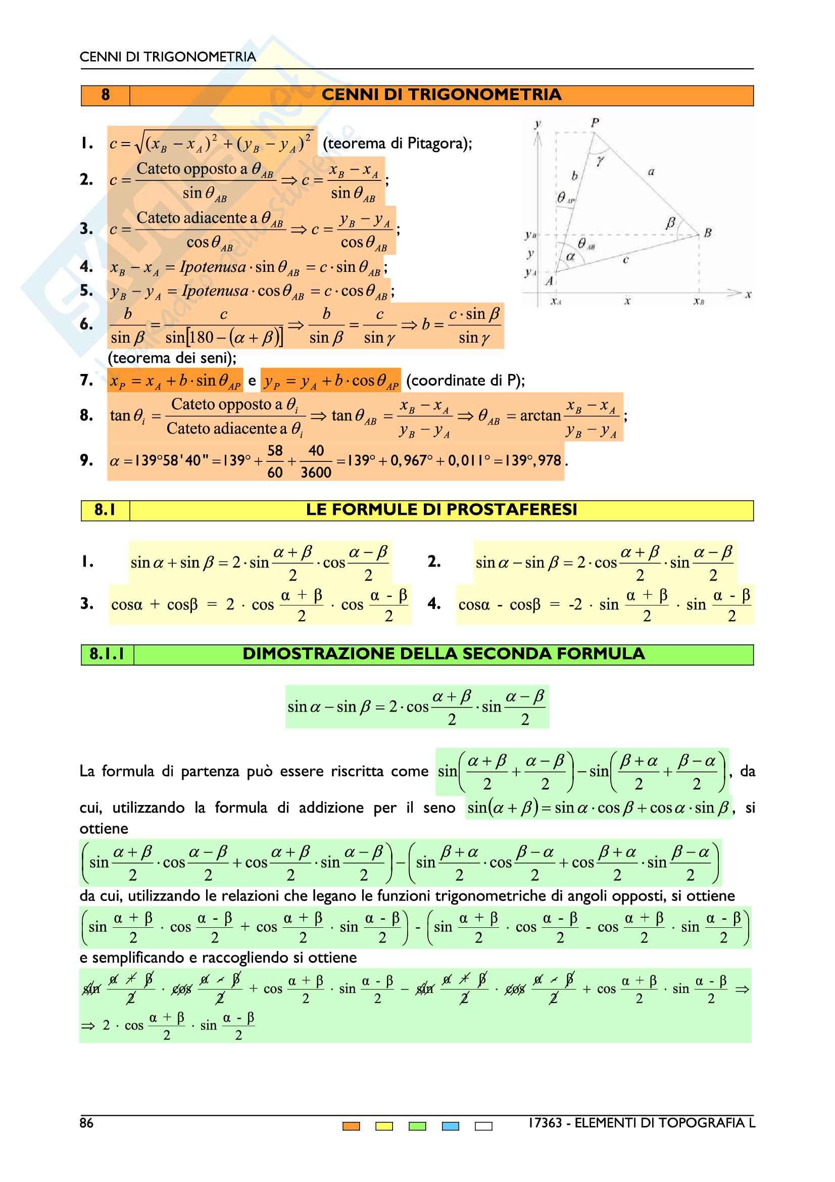 Elementi di topografia e cartografia Pag. 86