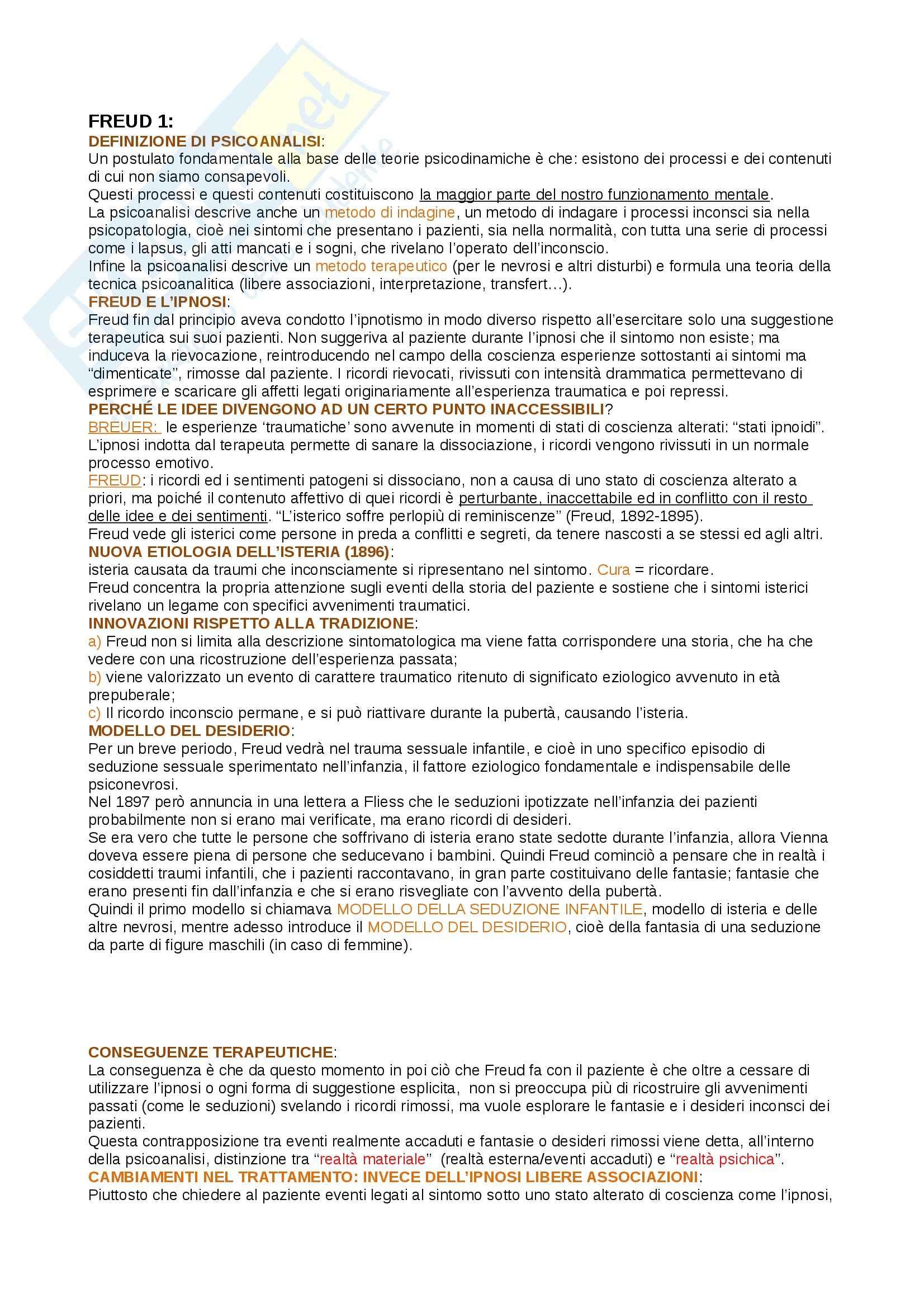 Riassunto esame psicologia dinamica,prof. Tagini, libro consigliato Psicologia dinamica. Modelli teorici a confronto, De Coro, Ortu