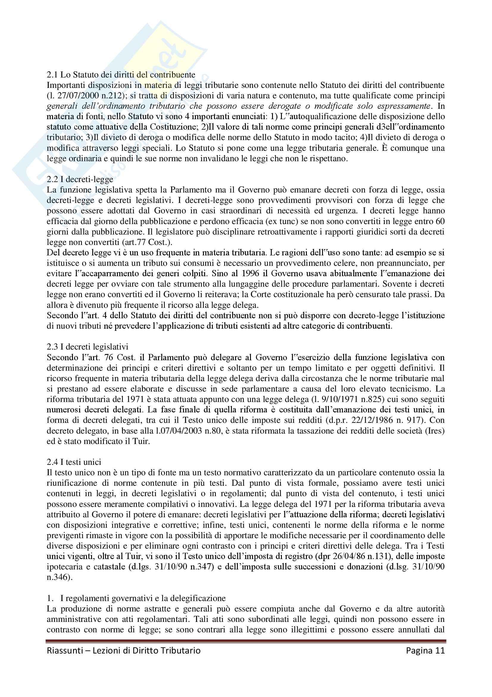 """Riassunto esame Diritto Tributario, Docente G. Melis, libro consigliato """"Lezioni di diritto tributario"""" di G. Melis Pag. 11"""