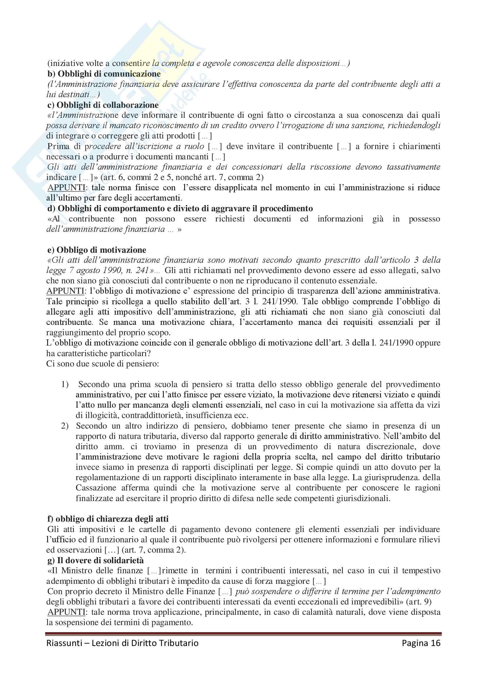 """Riassunto esame Diritto Tributario, Docente G. Melis, libro consigliato """"Lezioni di diritto tributario"""" di G. Melis Pag. 16"""