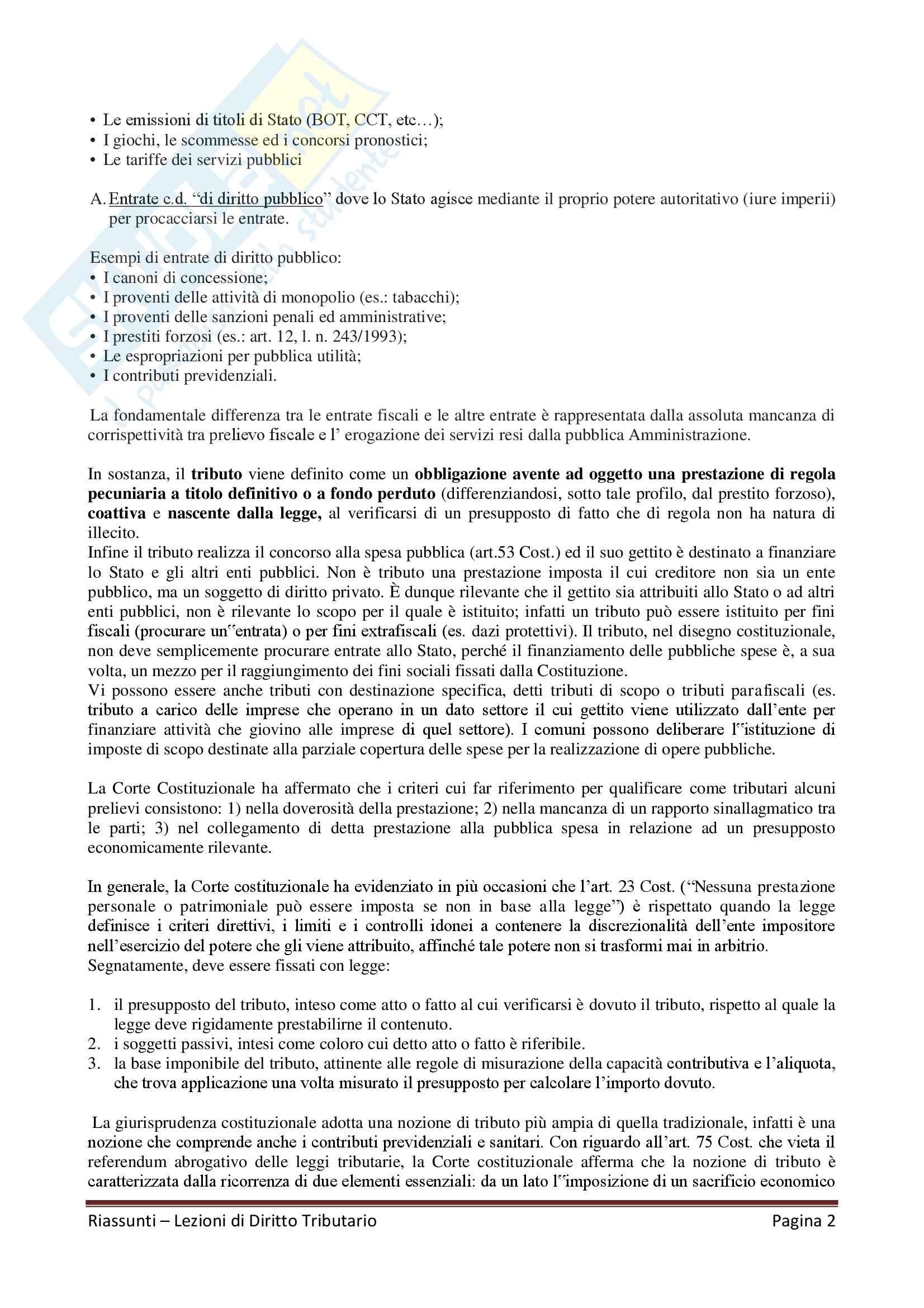"""Riassunto esame Diritto Tributario, Docente G. Melis, libro consigliato """"Lezioni di diritto tributario"""" di G. Melis Pag. 2"""