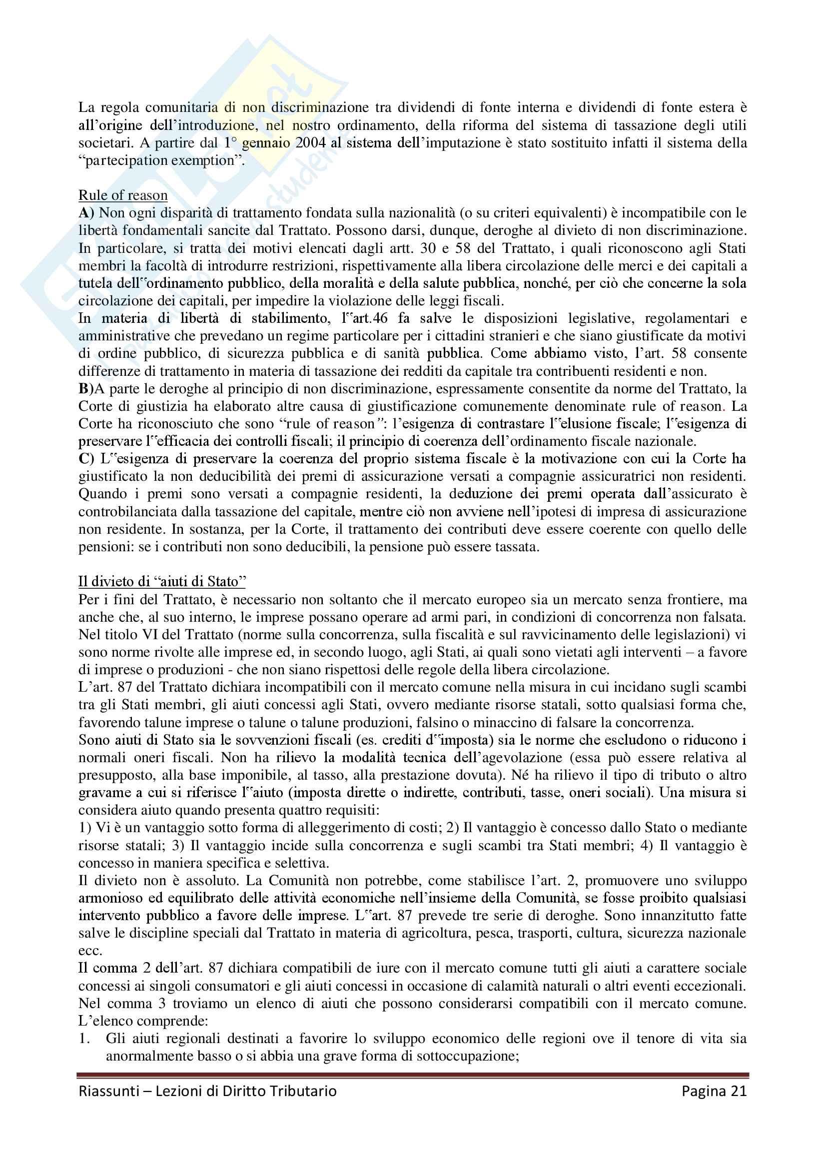"""Riassunto esame Diritto Tributario, Docente G. Melis, libro consigliato """"Lezioni di diritto tributario"""" di G. Melis Pag. 21"""