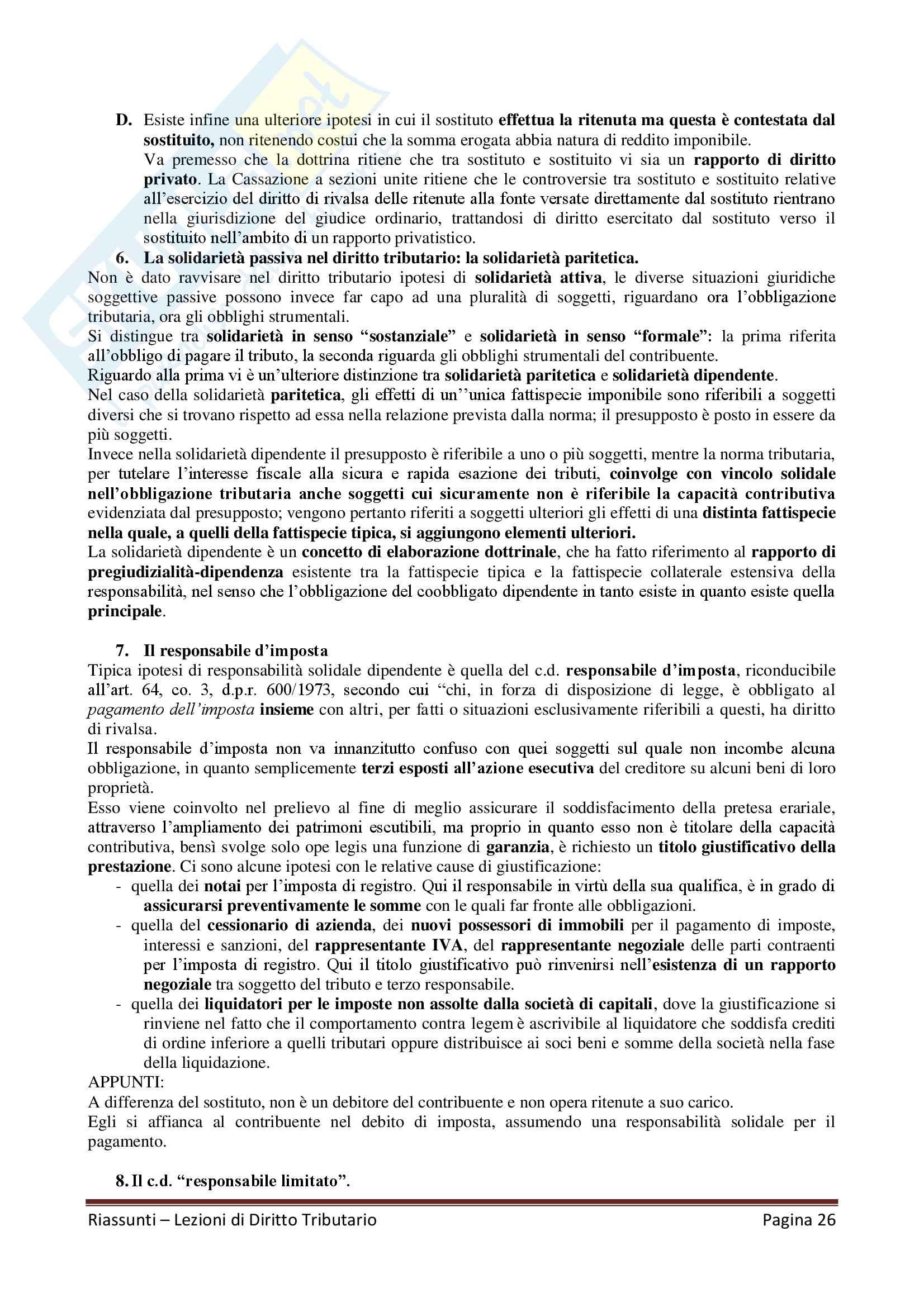 """Riassunto esame Diritto Tributario, Docente G. Melis, libro consigliato """"Lezioni di diritto tributario"""" di G. Melis Pag. 26"""