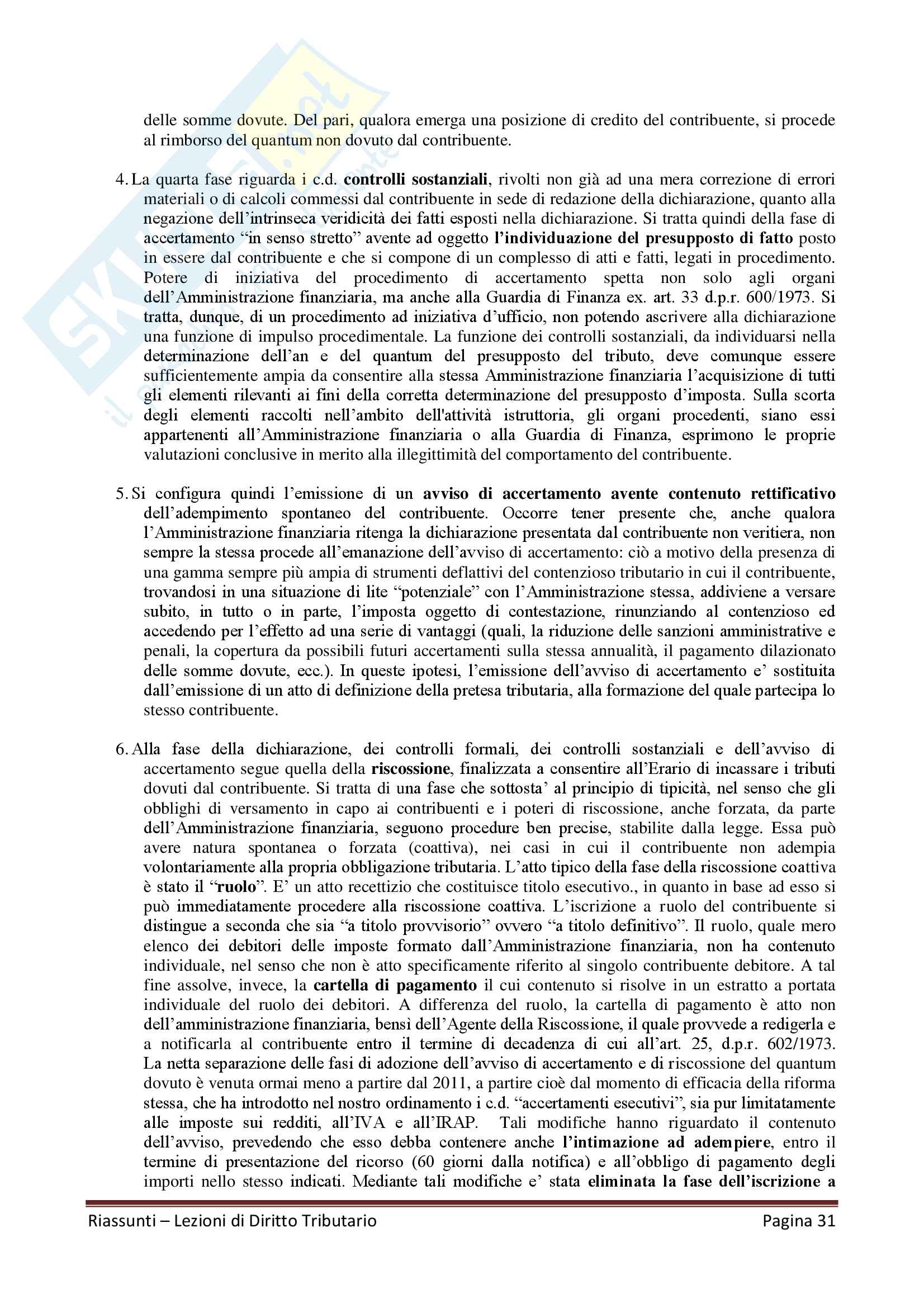 """Riassunto esame Diritto Tributario, Docente G. Melis, libro consigliato """"Lezioni di diritto tributario"""" di G. Melis Pag. 31"""