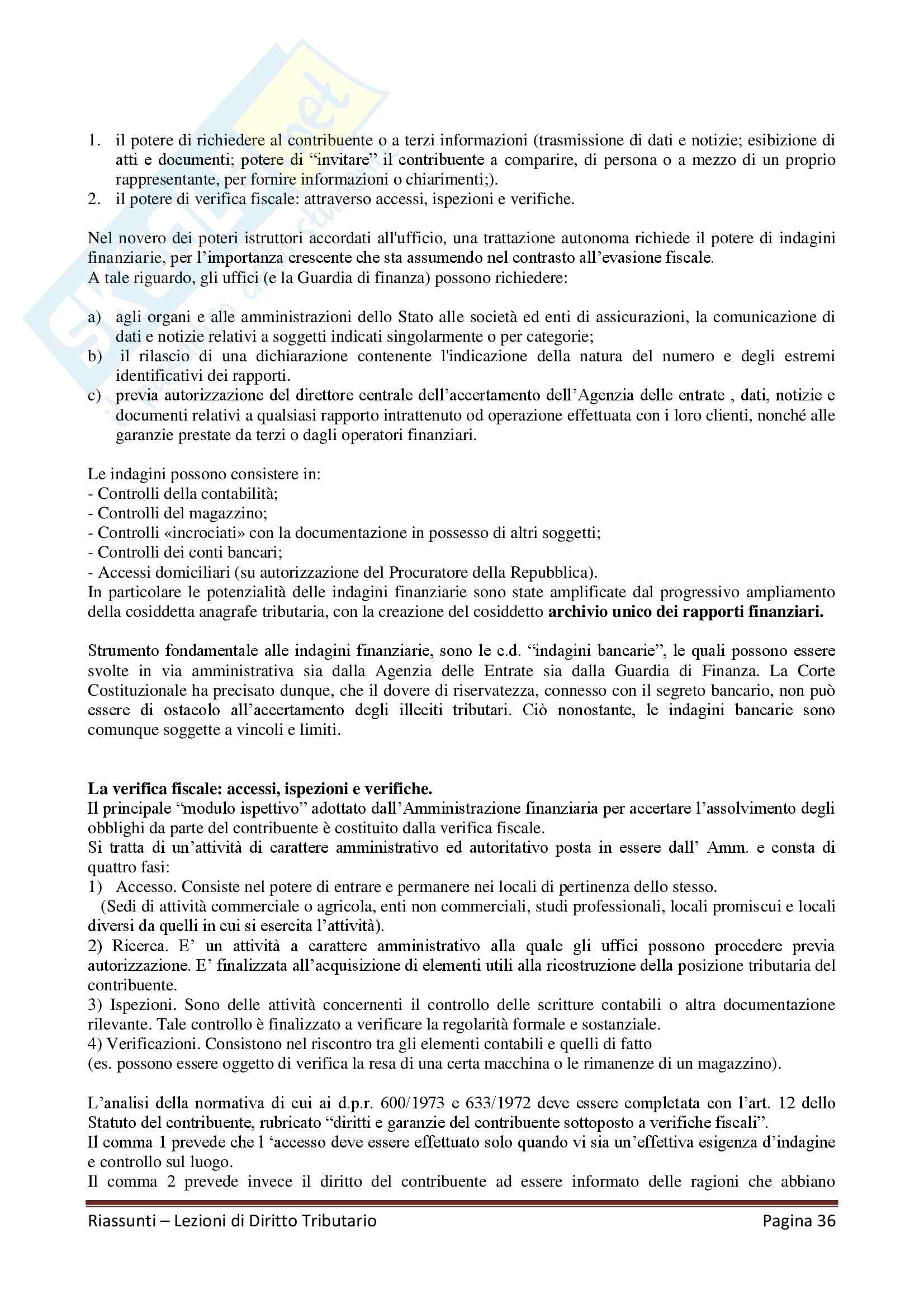 """Riassunto esame Diritto Tributario, Docente G. Melis, libro consigliato """"Lezioni di diritto tributario"""" di G. Melis Pag. 36"""