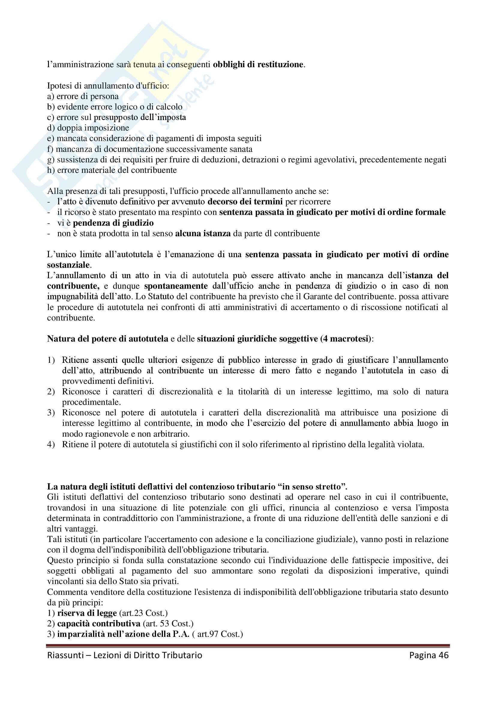 """Riassunto esame Diritto Tributario, Docente G. Melis, libro consigliato """"Lezioni di diritto tributario"""" di G. Melis Pag. 46"""