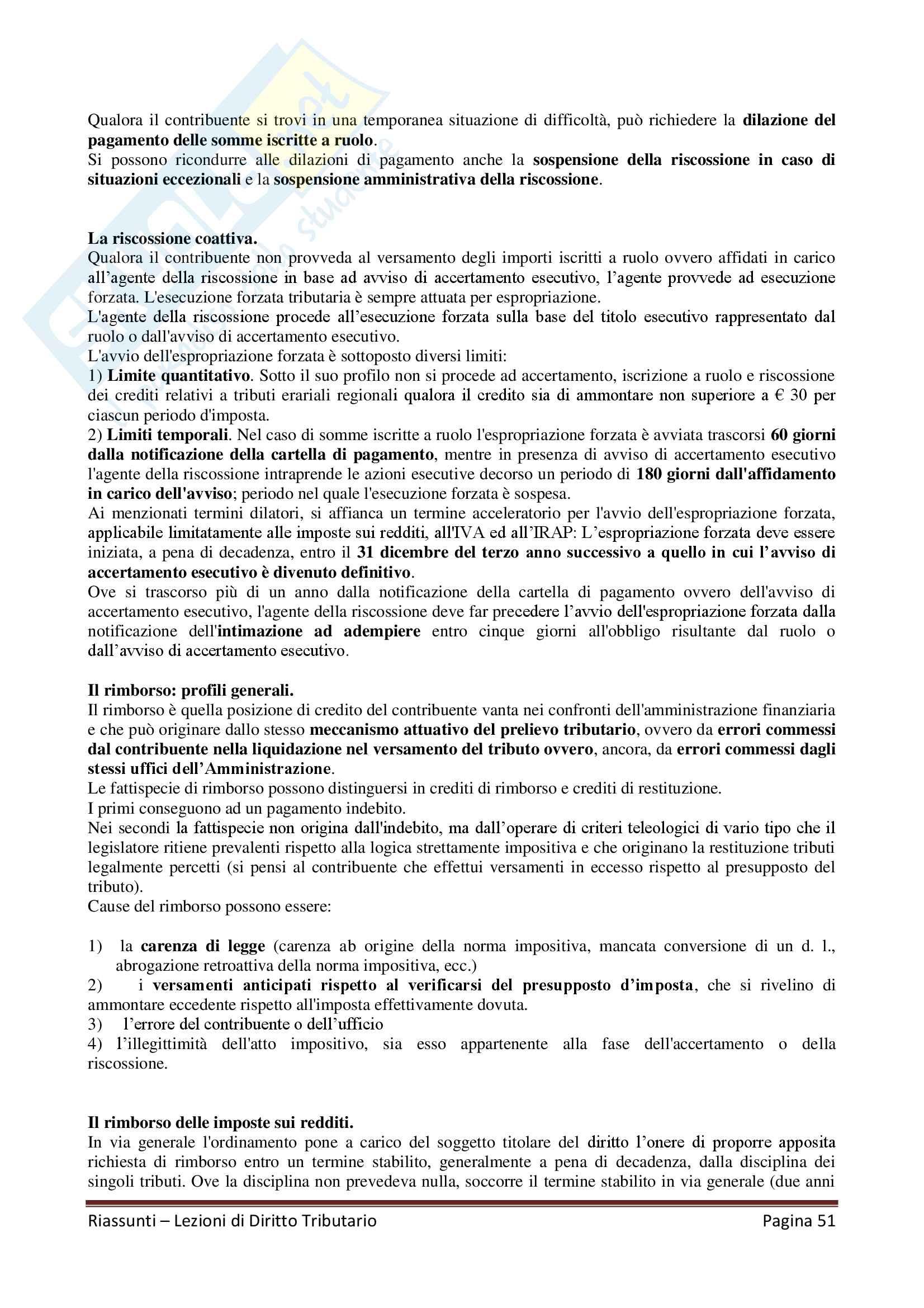"""Riassunto esame Diritto Tributario, Docente G. Melis, libro consigliato """"Lezioni di diritto tributario"""" di G. Melis Pag. 51"""