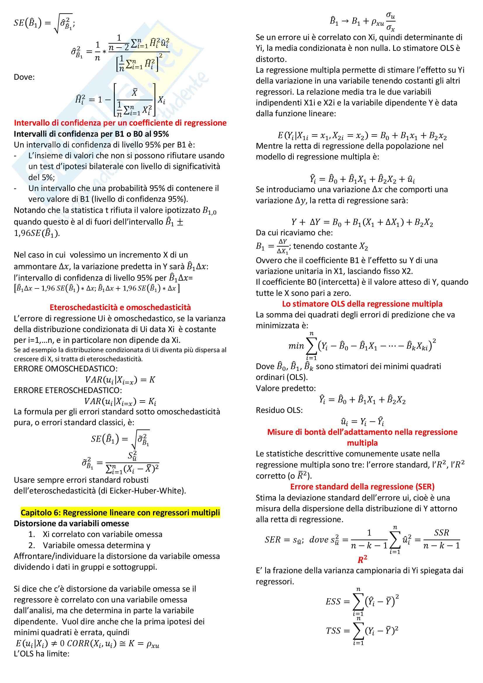 Riassunto esame Econometria, prof. Fiorentini, libro consigliato Introduzione all'Econometria, Stock Watson Pag. 6
