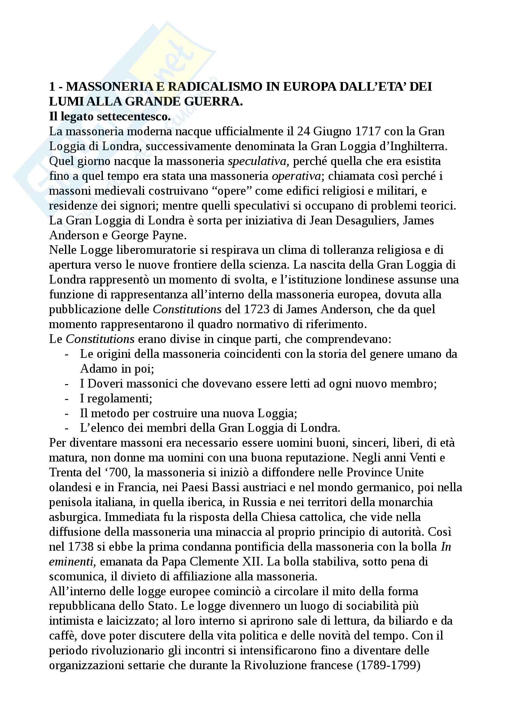 Riassunto esame Storia Contemporanea, prof. Tedesco, libro consigliato Massoneria e Religioni Civili, Conti