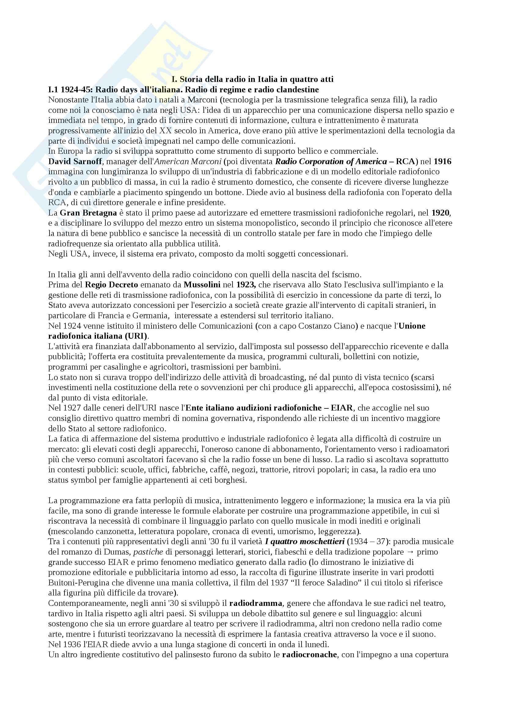Riassunto esame Laboratorio di Comunicazione Radiofonica, prof. Bonini, libro consigliato La Radio in Italia